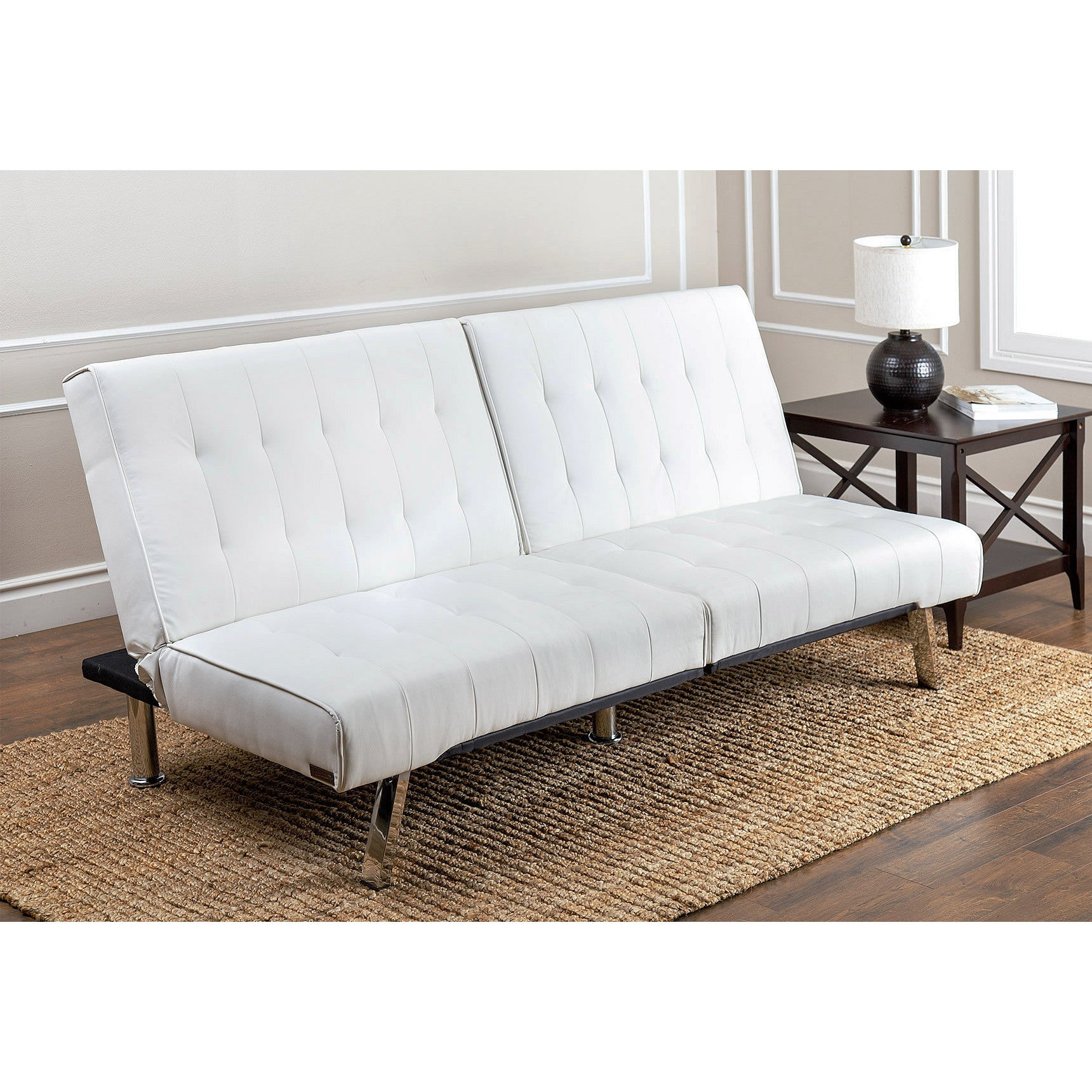 Abbyson Jackson Ivory Leather Foldable Futon Sofa Bed On Free Shipping Today 9829805