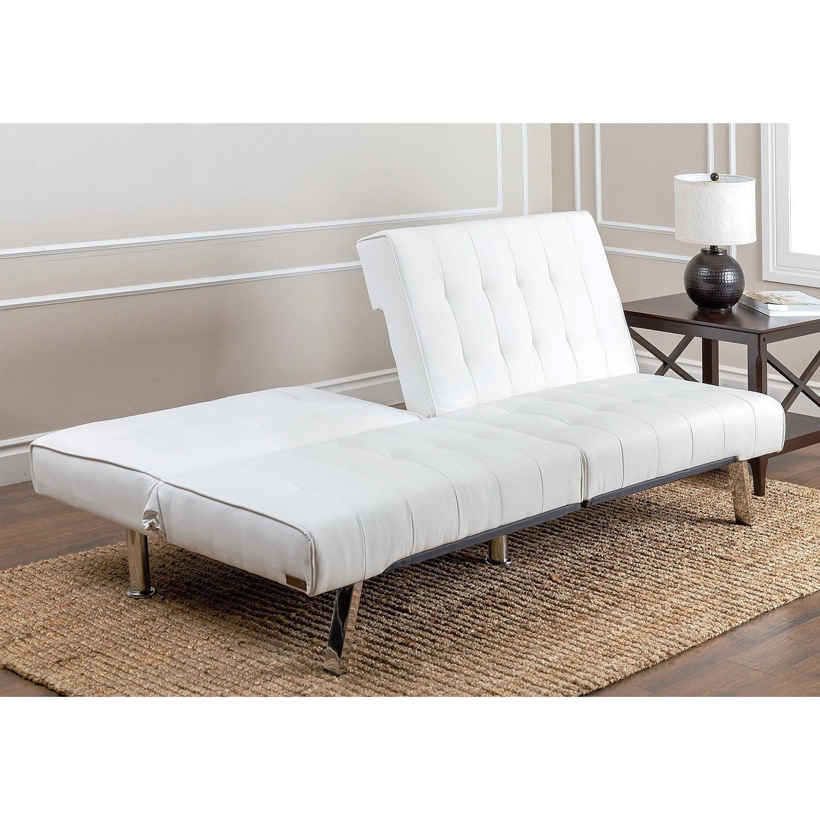 Abbyson Jackson Ivory Leather Foldable Futon Sofa Bed Free