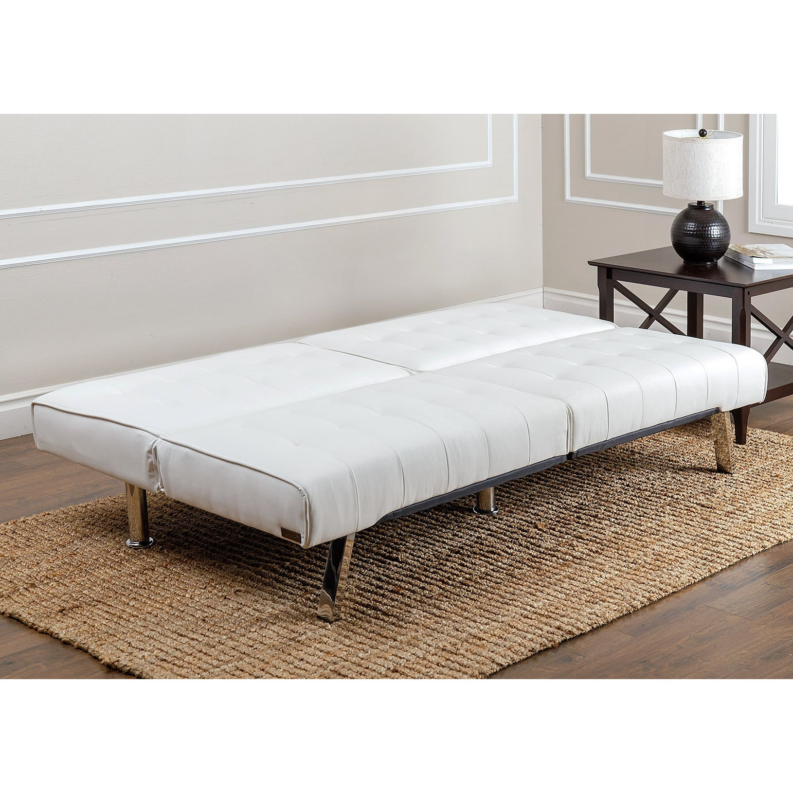 Abbyson Jackson Ivory Leather Foldable Futon Sofa Bed Free