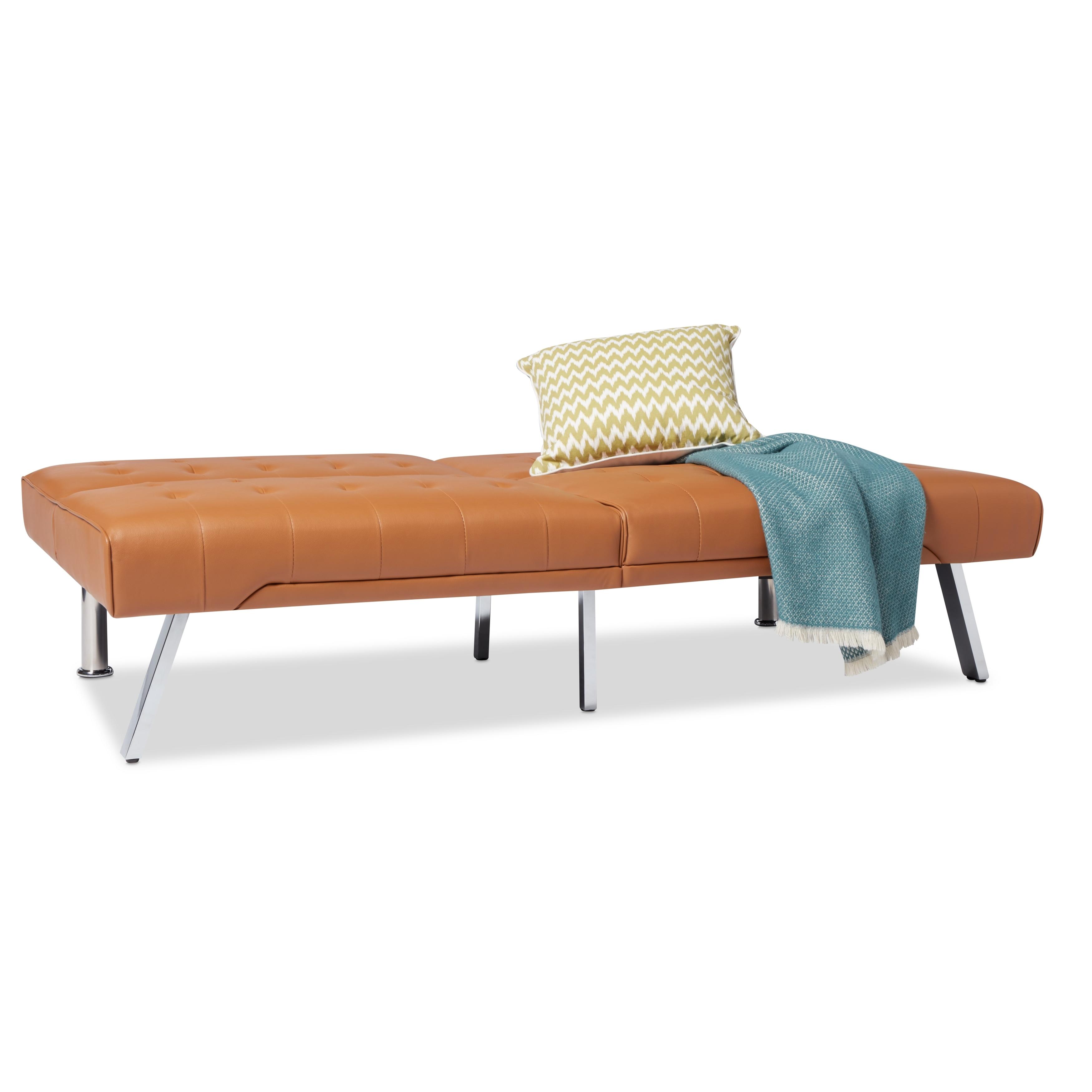 Abbyson Jackson Camel Leather Foldable Futon Sofa Bed Free