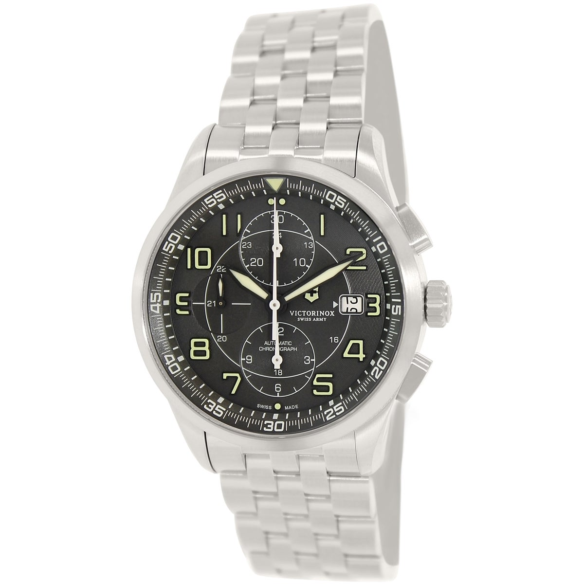 79da046fbb2 Shop Victorinox Swiss Army Men s Airboss Stainless Steel Swiss Automatic  Watch - silver - Free Shipping Today - Overstock - 9830166