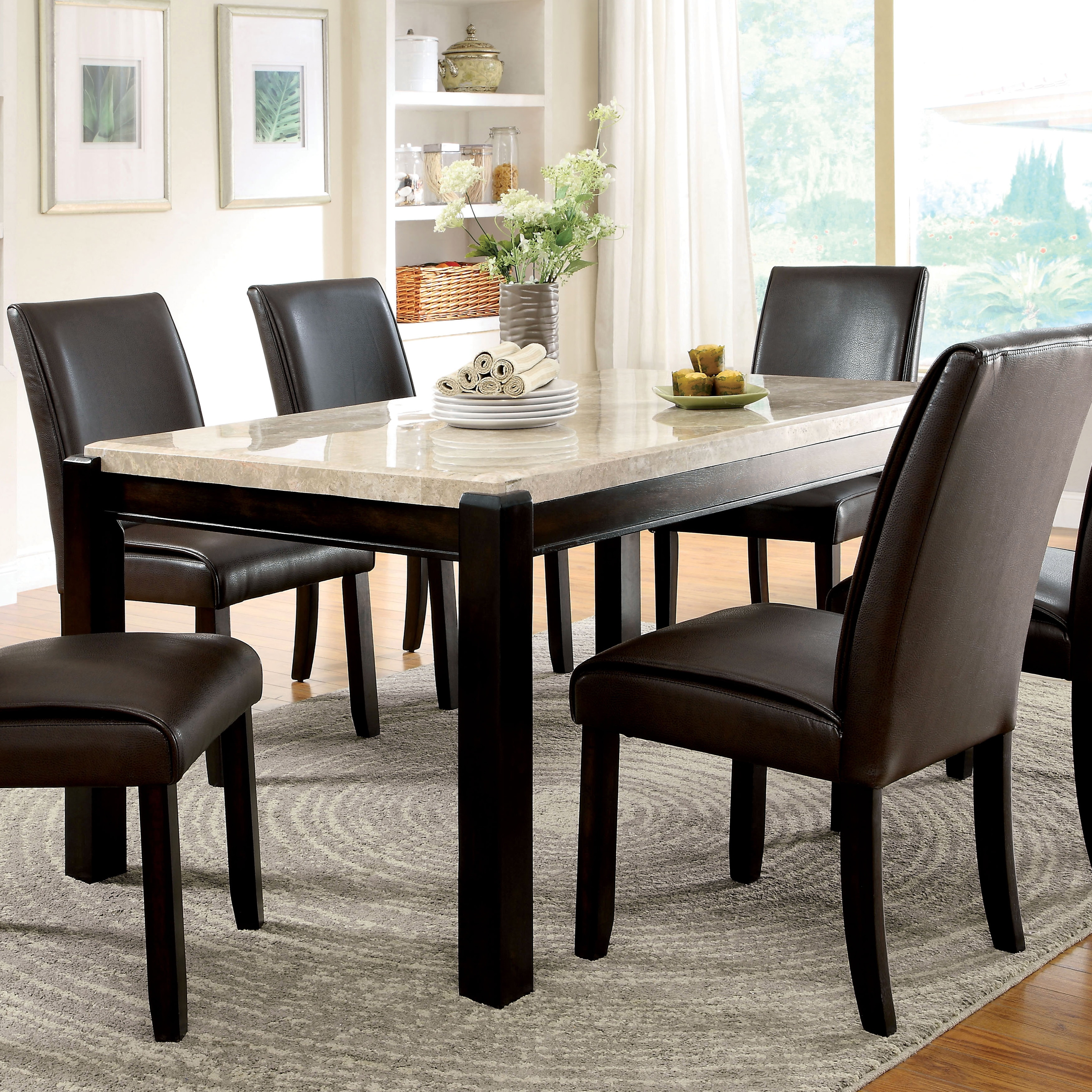 Shop furniture of america joreth genuine marble top dining table walnut free shipping today overstock com 9830287