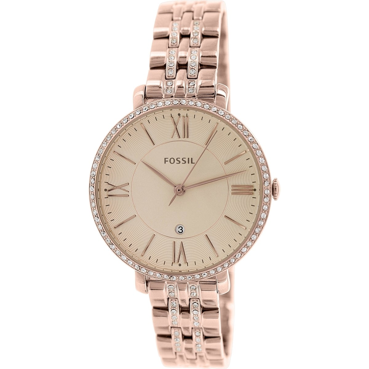 53550c84014 Shop Fossil Women s Jacqueline ES3546 Rose-gold Stainless Steel Quartz Watch  - Free Shipping Today - Overstock - 9830494