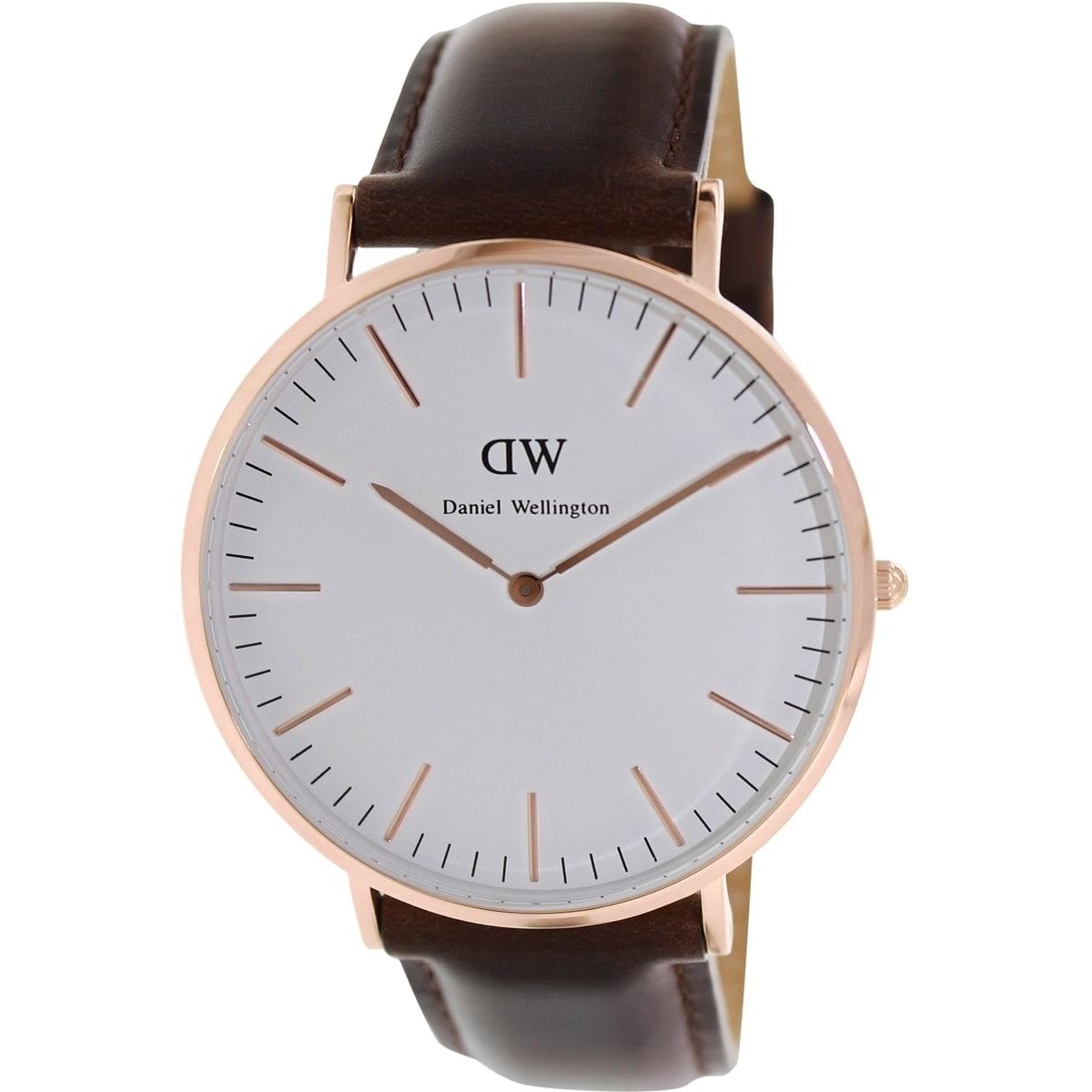 Shop Daniel Wellington Men's Bristol 0109DW White Leather Quartz Watch - Free Shipping Today - Overstock.com - 9830559
