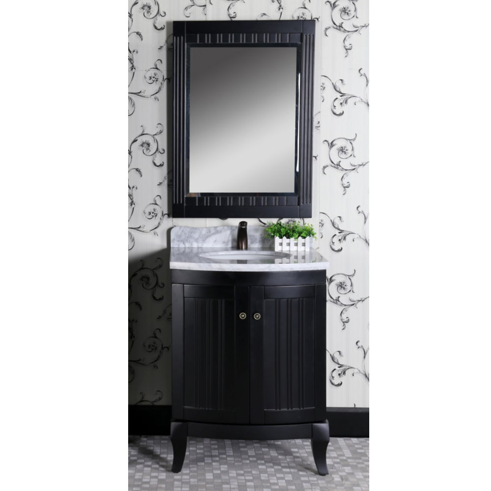 Country Style 27 Inch Carrara White Marble Top Black Single Sink Bathroom Vanity And Matching Wall Mirror Free Shipping Today