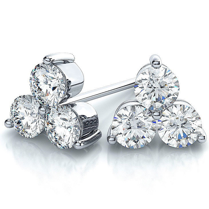 Suzy Levian 14k White Gold 3 Stone Diamond Cer 2 5ct Tdw Stud Earrings On Free Shipping Today 9832738