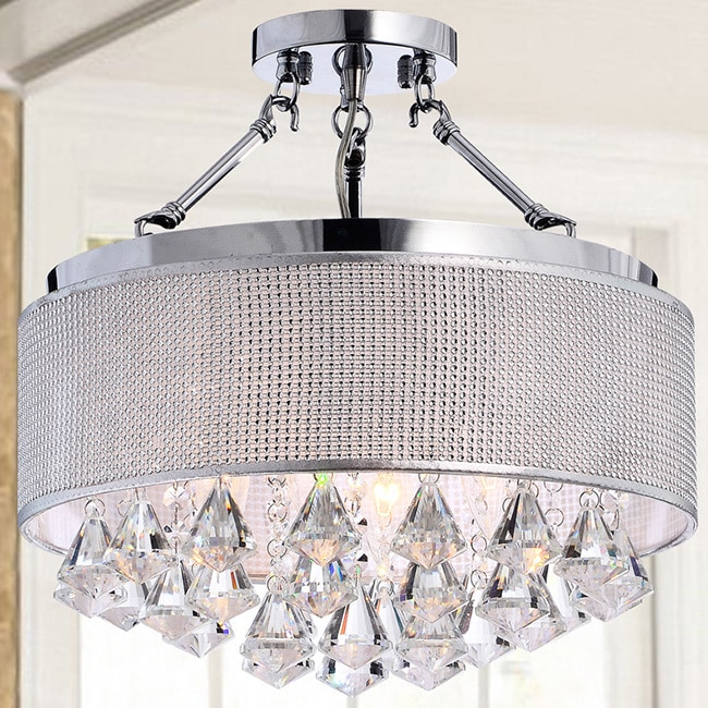 Yessica Rhinestone Silver Shade Semi Flush Mount Crystal Chandelier Free Today Com 9833119