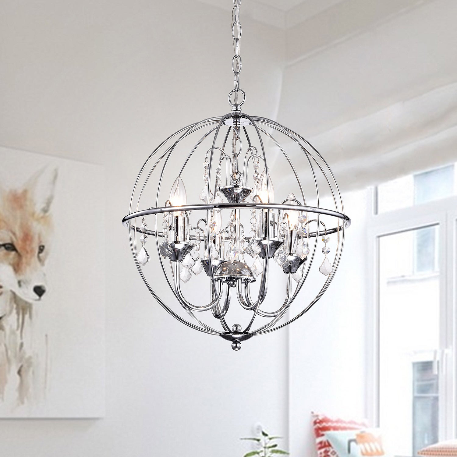 Benita Chrome Finish Metal Orb Crystal Chandelier Free Shipping