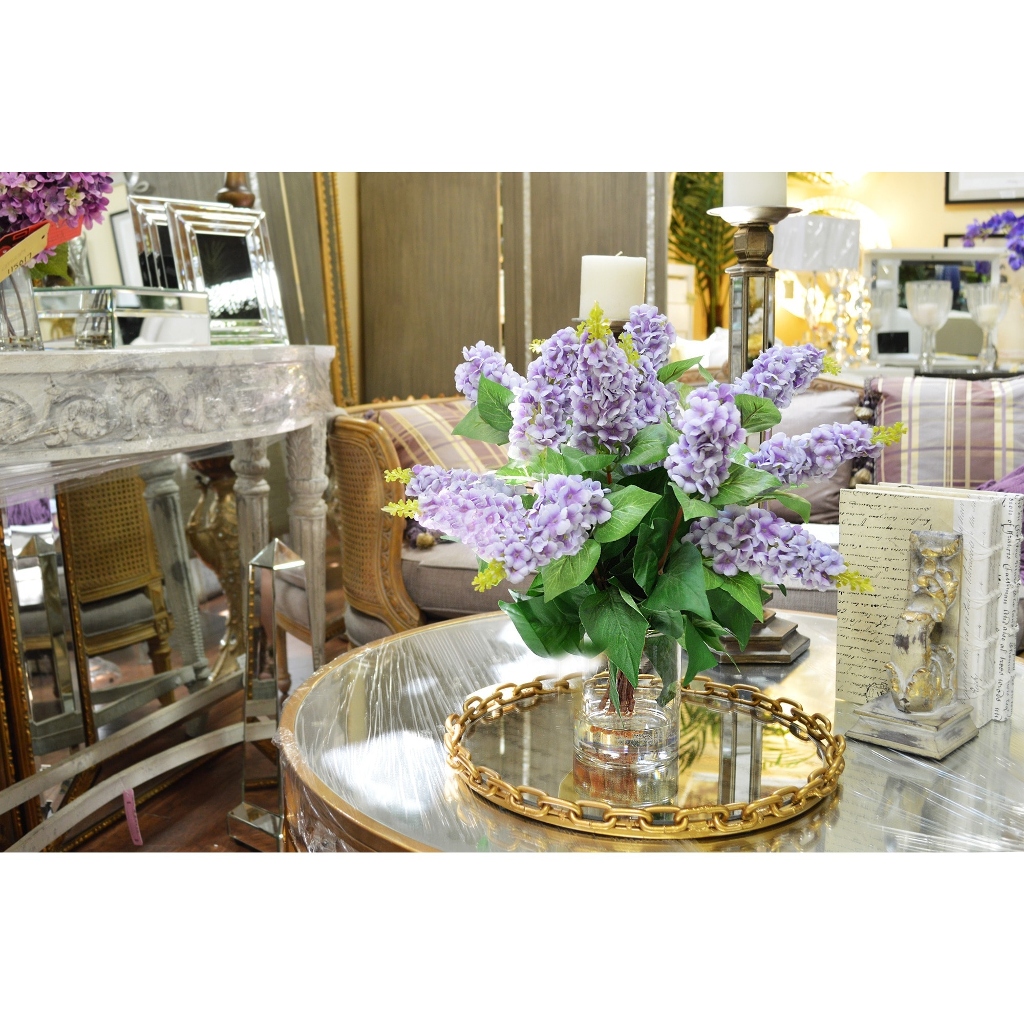 Shop creative displays lavender lilac silk flowers in acrylic water shop creative displays lavender lilac silk flowers in acrylic water filled glass vase free shipping today overstock 9833310 mightylinksfo