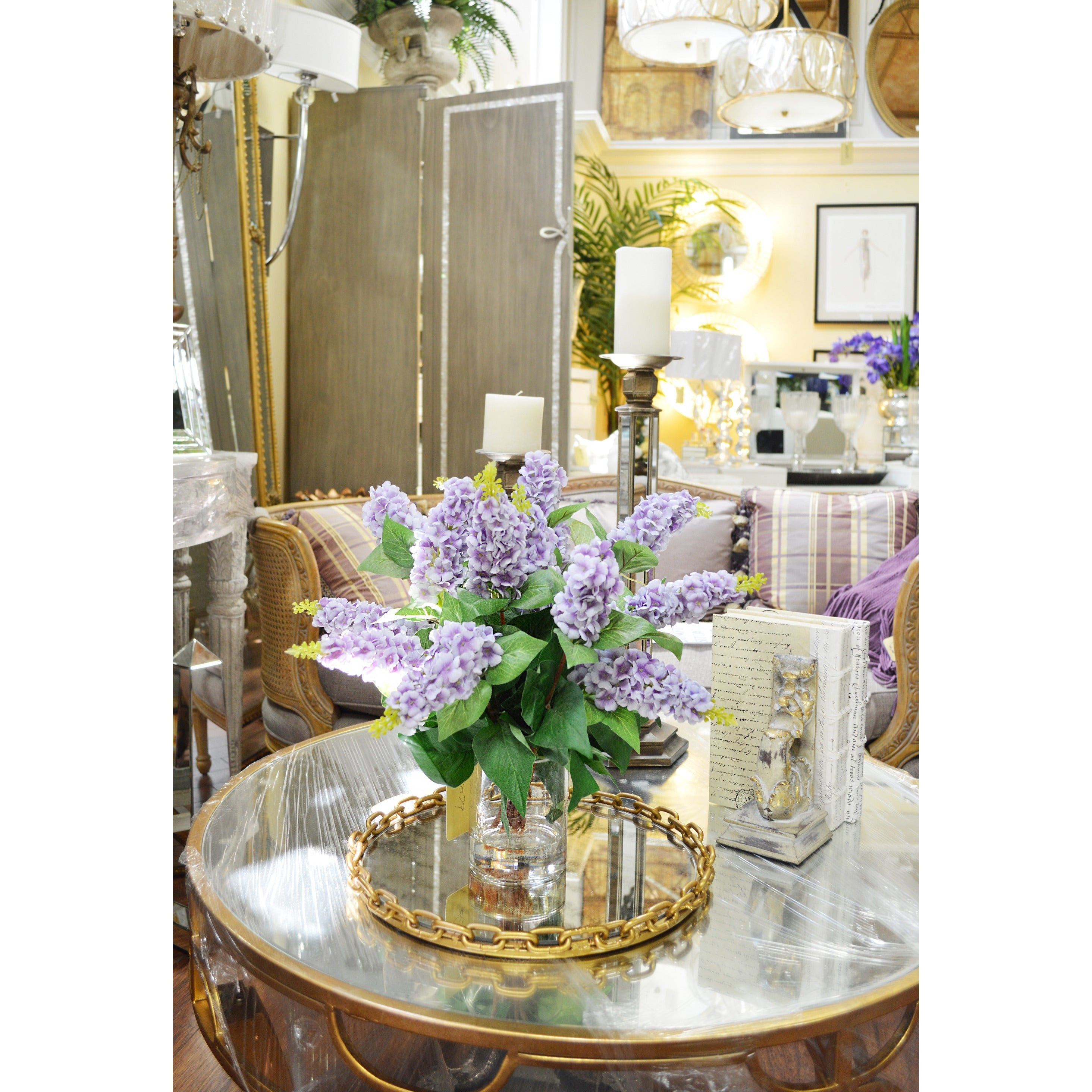 Creative Displays Lavender Lilac Silk Flowers In Acrylic Water Filled Glass Vase
