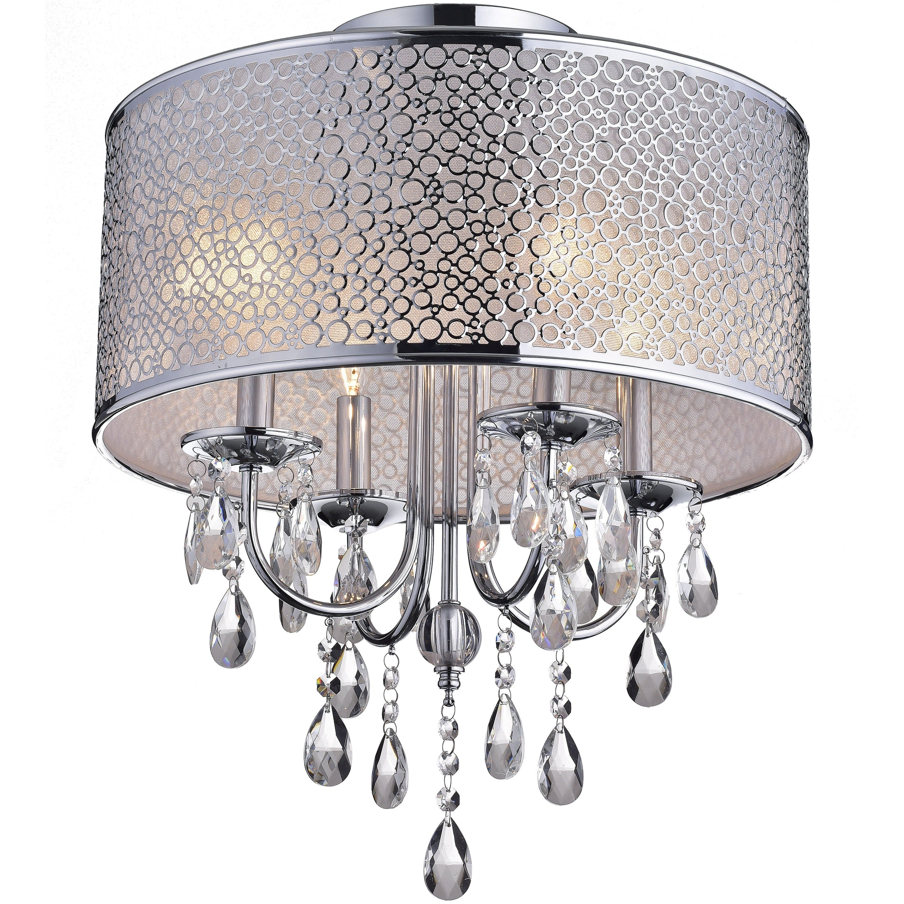 Amalia Indoor 4 Light Chrome Metal Drum Shade Crystal Flush Mount Chandelier Free Today Com 9833457