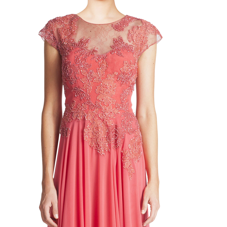Shop Teri Jon Coral Pink Beaded Lace Applique Cap Sleeve Evening ...