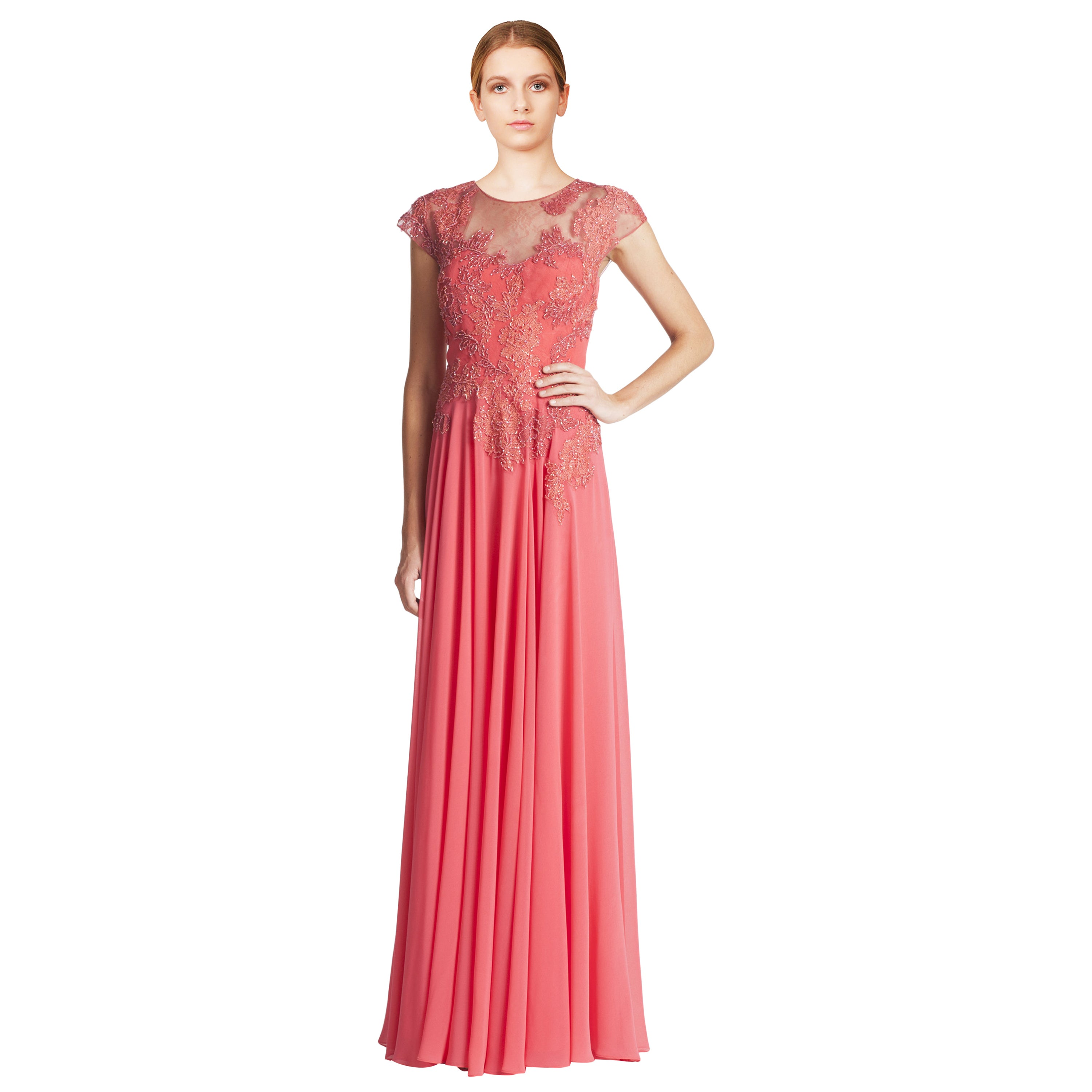 Teri Jon Coral Pink Beaded Lace Applique Cap Sleeve Evening Gown