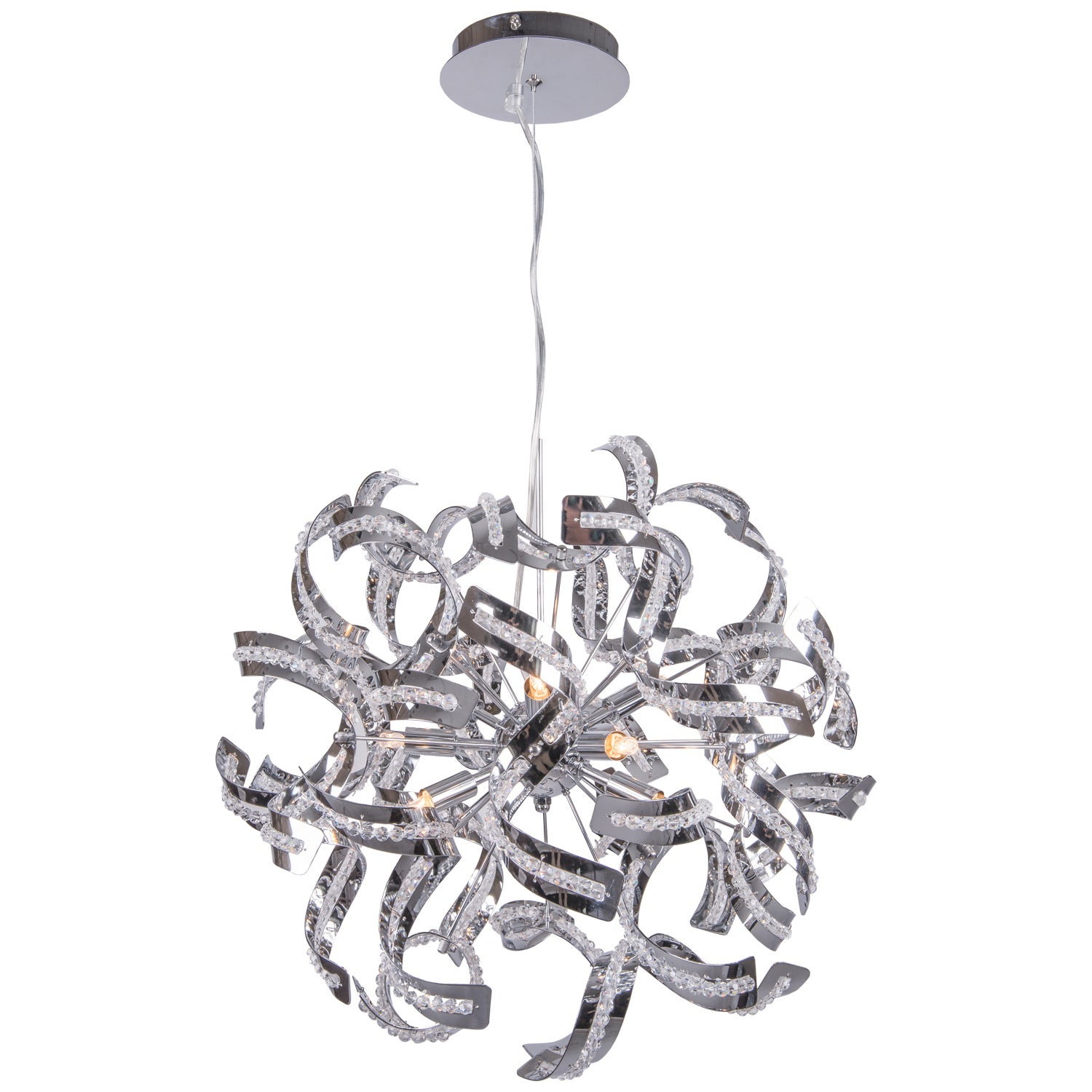9 Light Chrome Ribbon Pendant with Crystal Accents Free Shipping