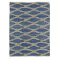 Handmade Natural Fiber Cayon Navy Lattice Rug (2' x 3')
