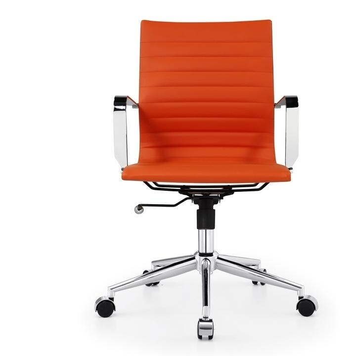 Shop M344 Meelano Modern Vegan Leather Office Chair Orange On Sale