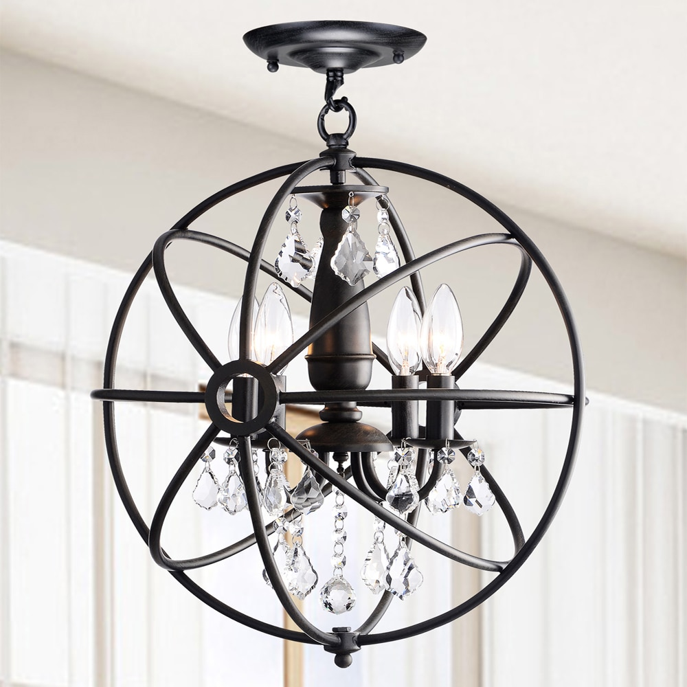 Benita antique black 4 light iron orb flush mount crystal chandelier benita antique black 4 light iron orb flush mount crystal chandelier free shipping today overstock 17071077 arubaitofo Choice Image