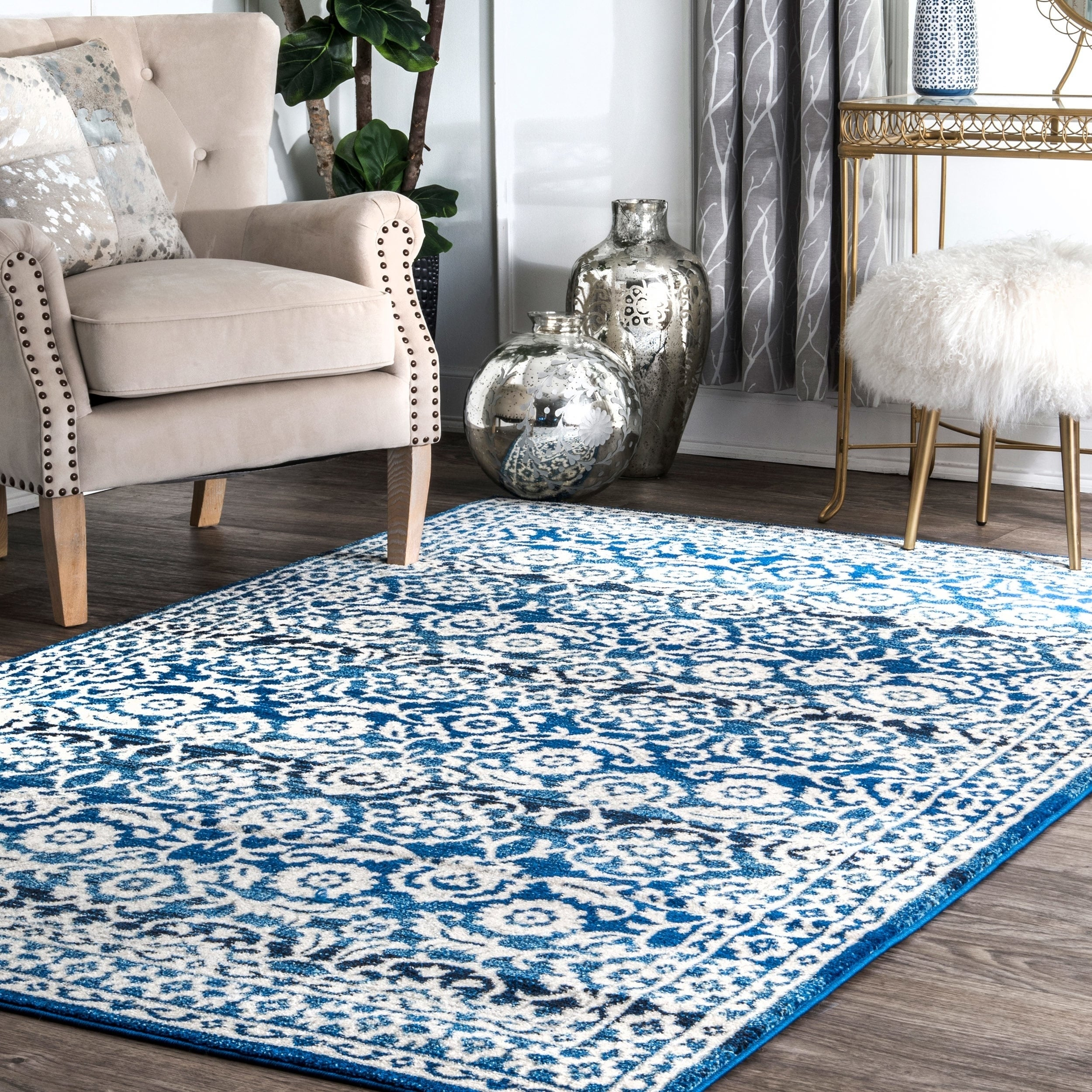 Shop nuLOOM Traditional Persian Vintage Dark Blue Rug - 8\' x 10 ...