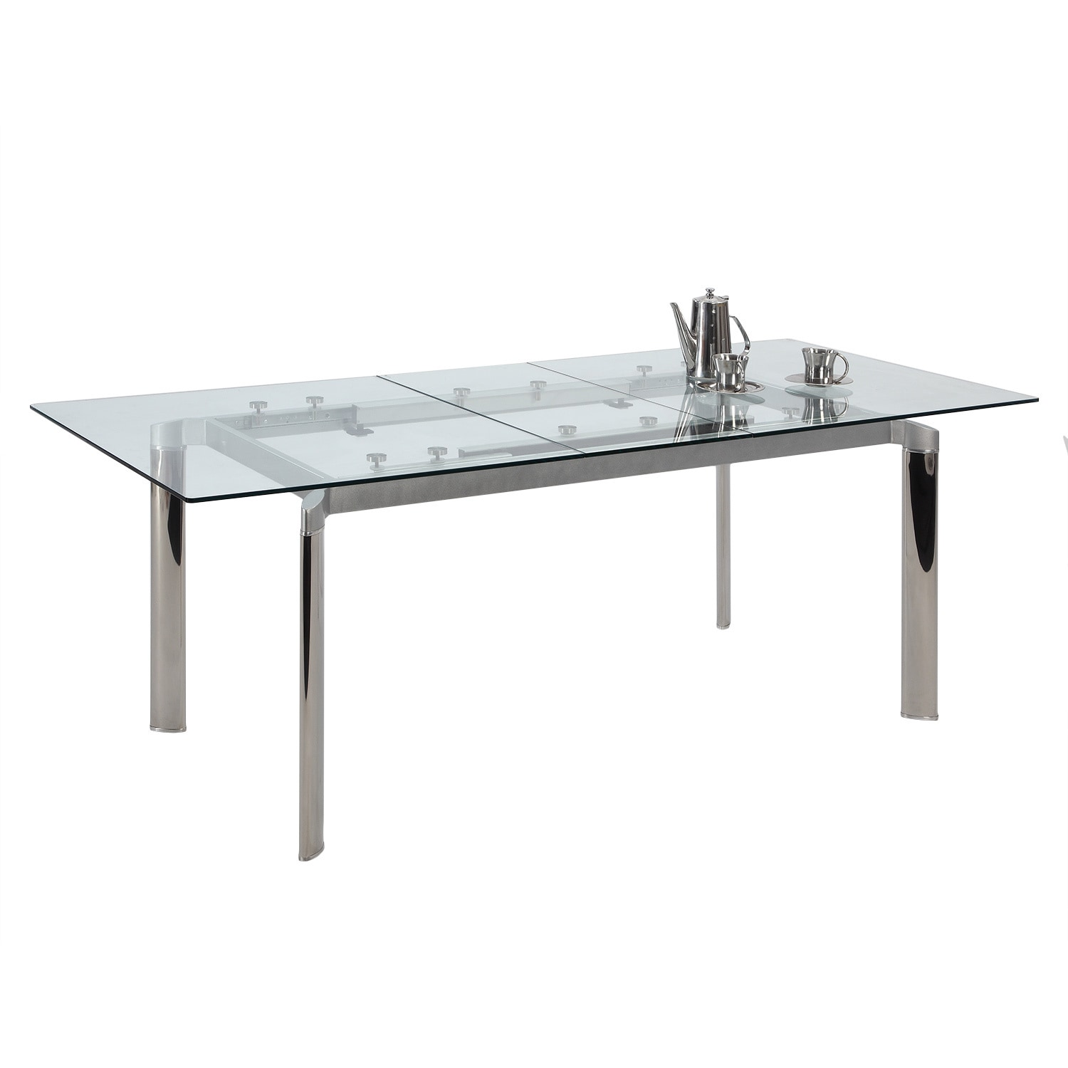 Beau Shop Christopher Knight Home Tamra Glass Pop Up Extension Glass Dining Table    Silver   Free Shipping Today   Overstock.com   9913933