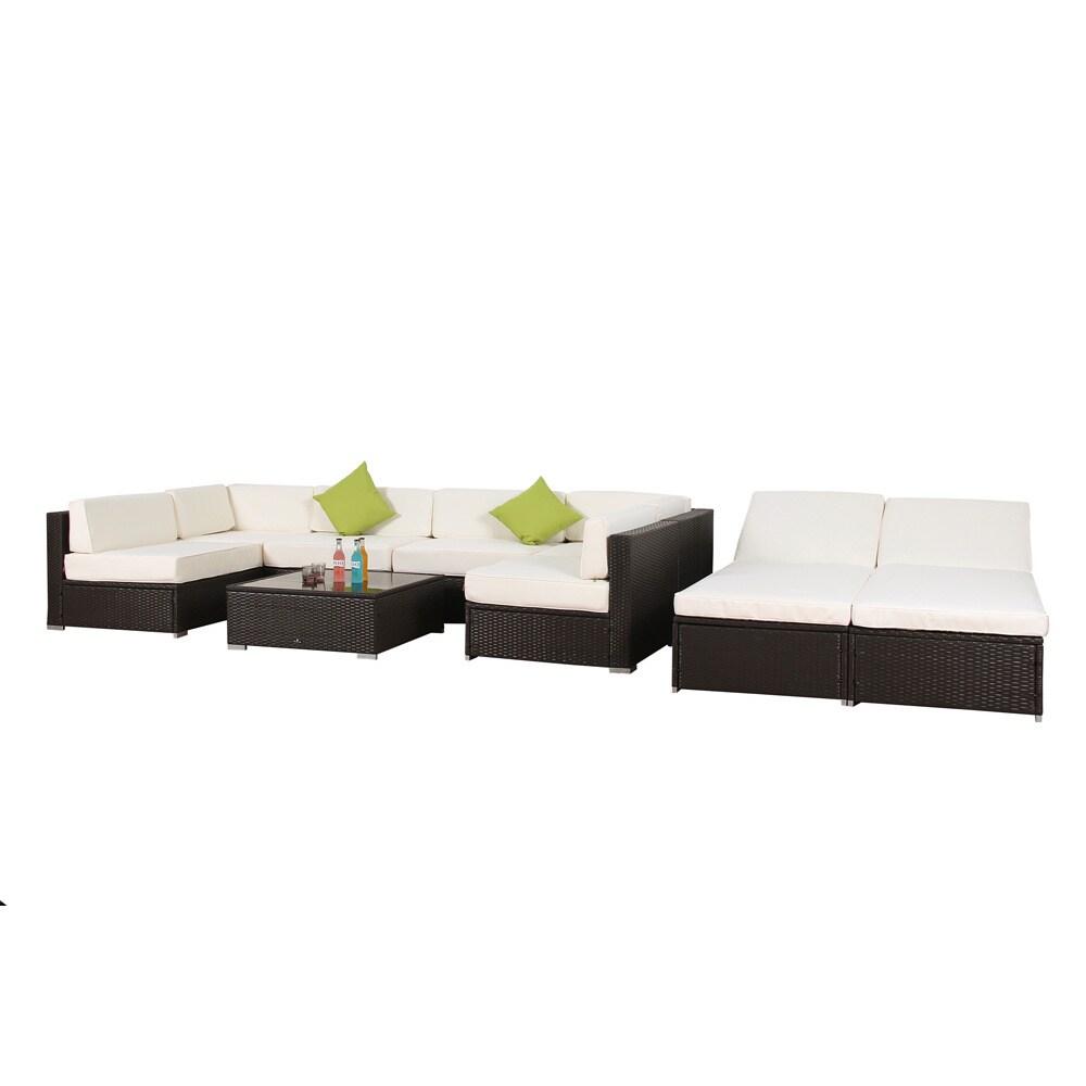 Shop Broyerk 9 Piece Outdoor Rattan Patio Lounge Furniture Set