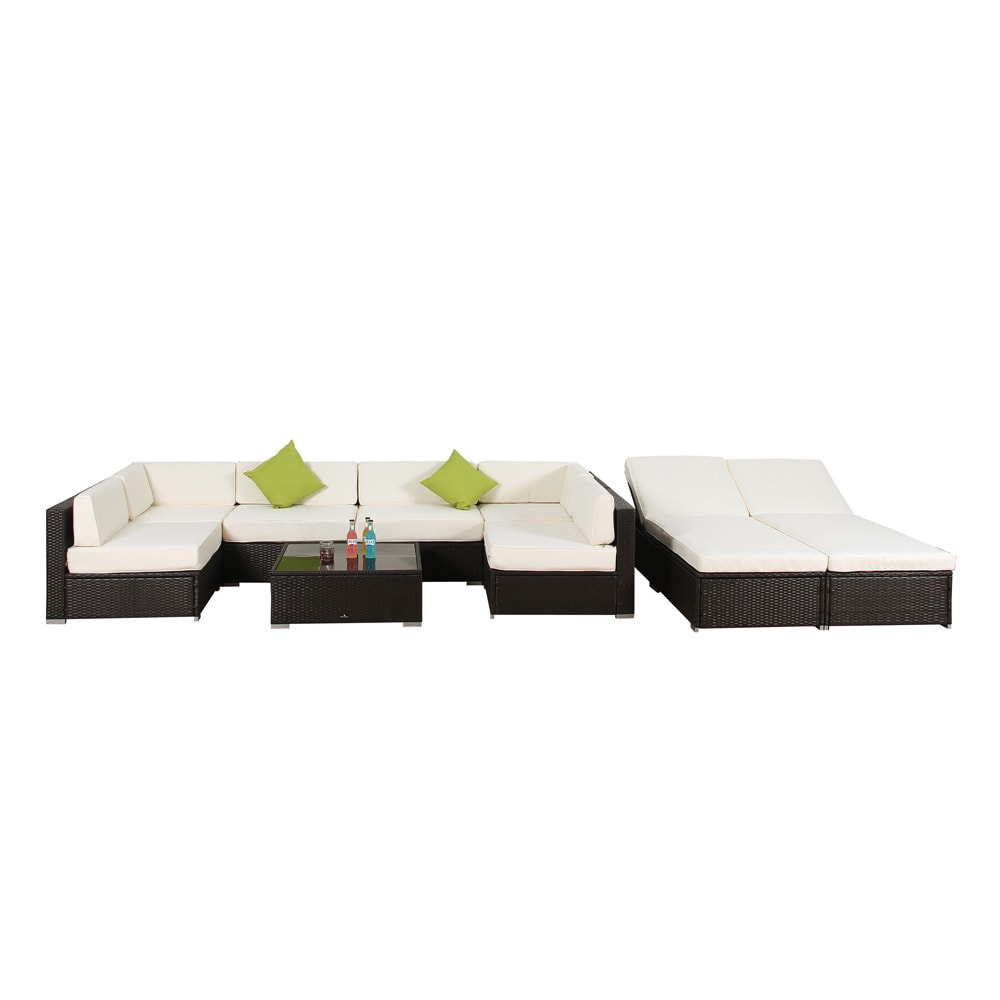 Shop broyerk 9 piece outdoor rattan patio lounge furniture set free shipping today overstock com 9913935