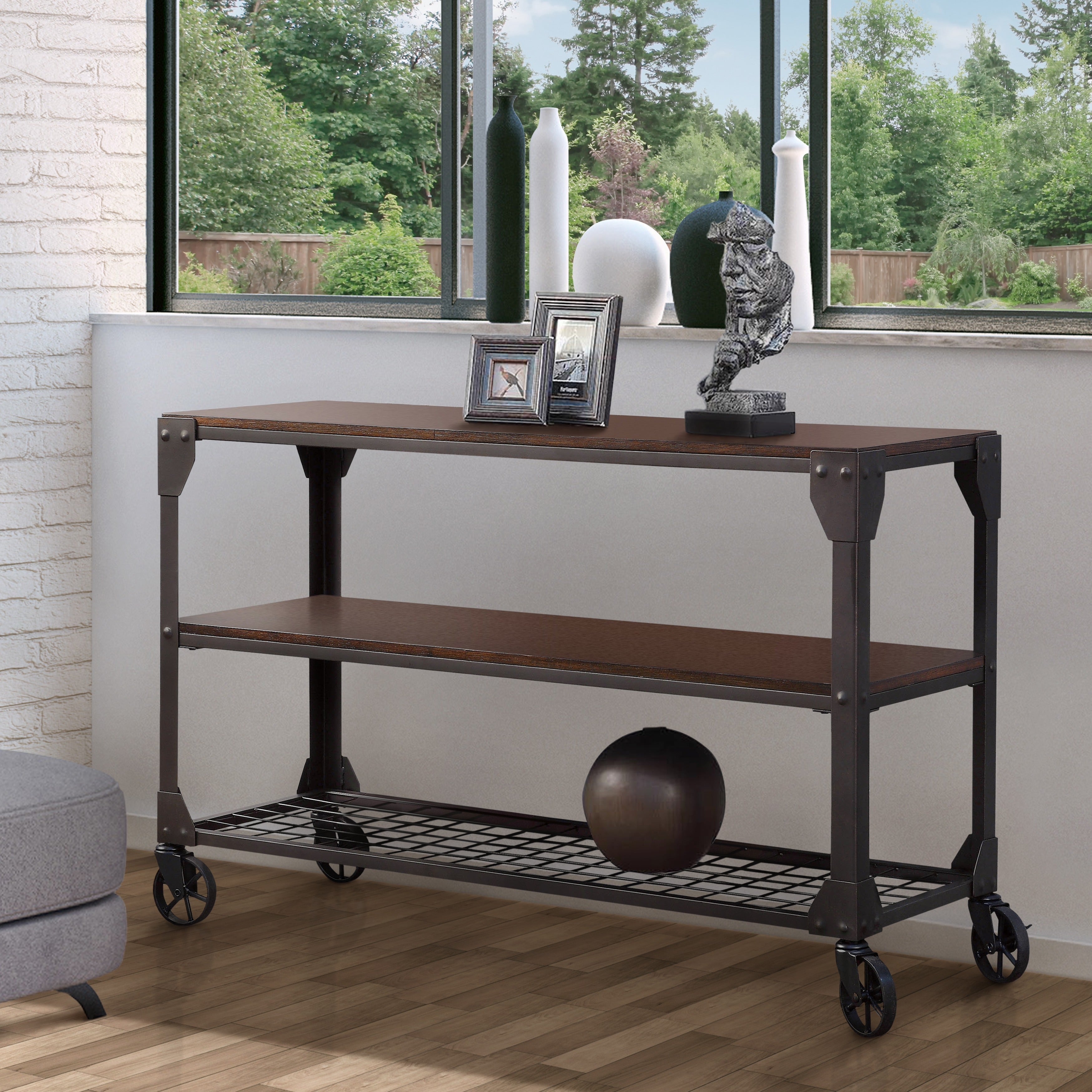 Bon Shop Furniture Of America Karina Oak Toned Wood And Metal Industrial Style  Sofa Table   On Sale   Free Shipping Today   Overstock.com   9913989