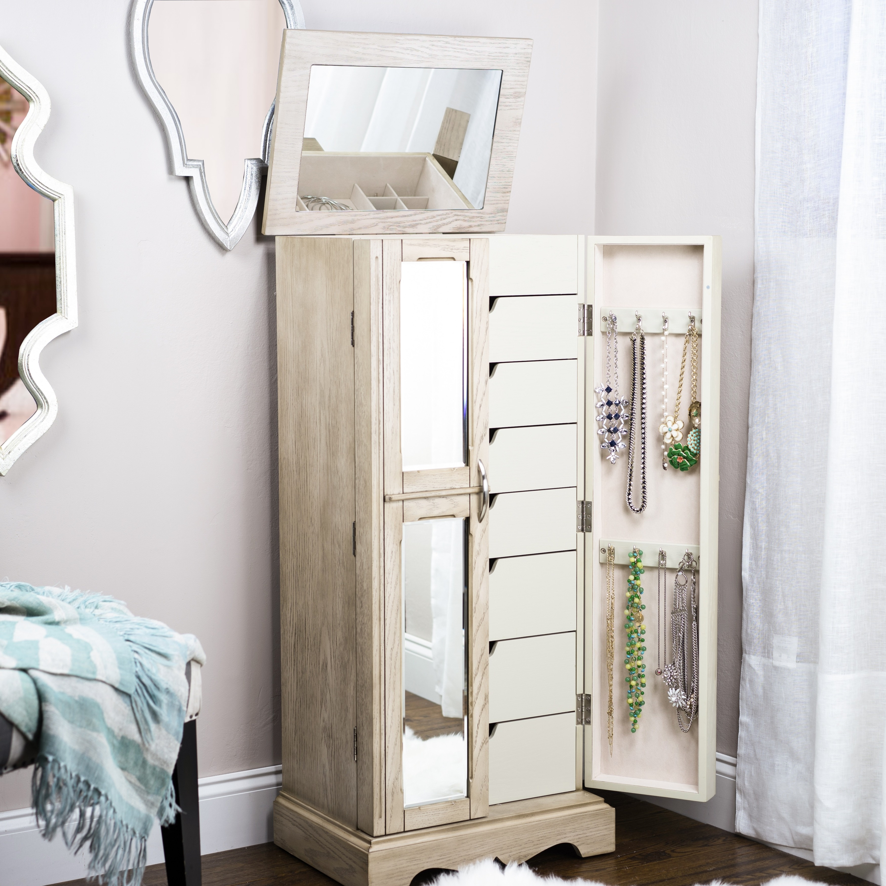 buy in wardrobes floor girl wardrobe armoire mirror jewelry girls pearl white mirrored