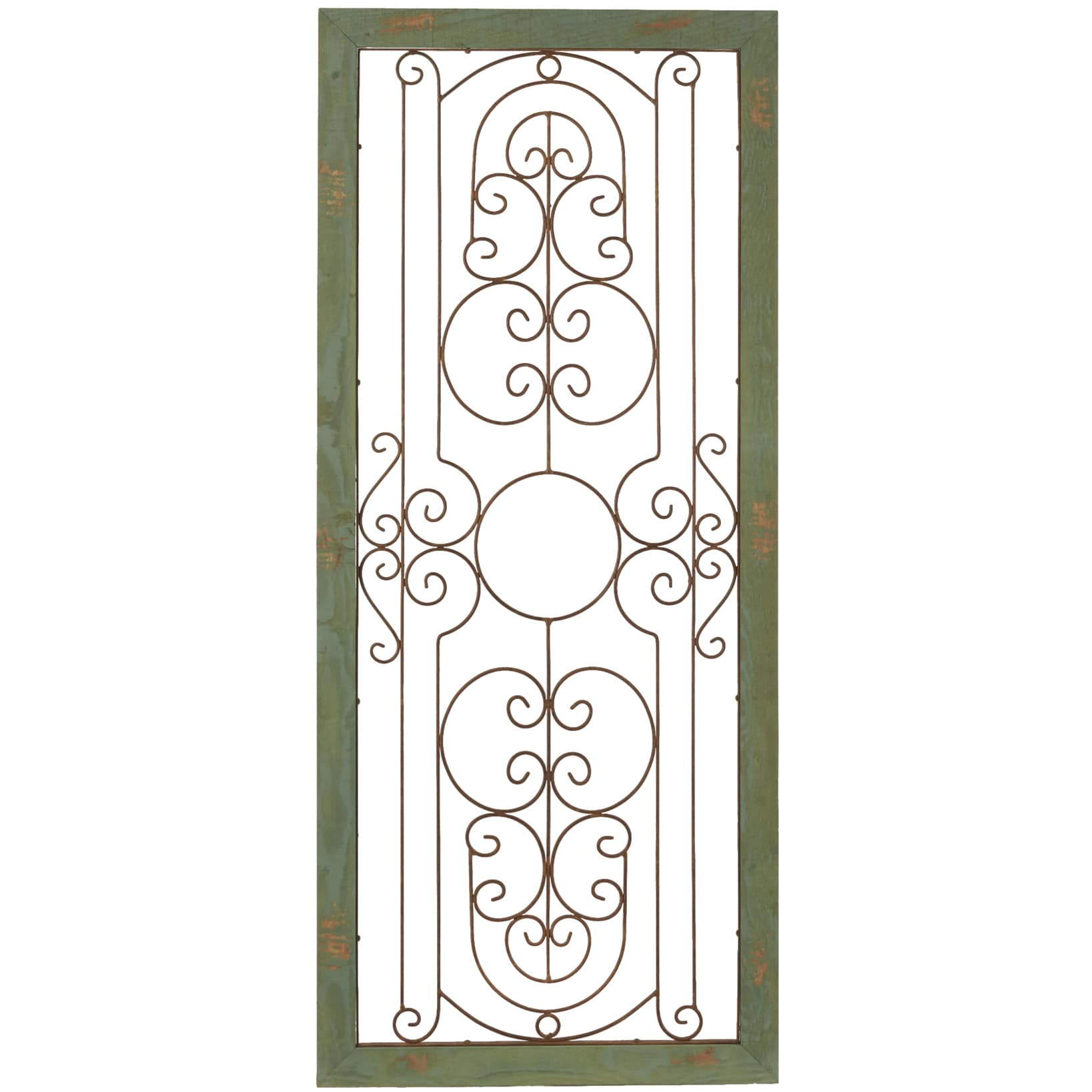 Shop \'Green Wall Gate\' Metal Plaque in Wood Frame Wall Art - Free ...