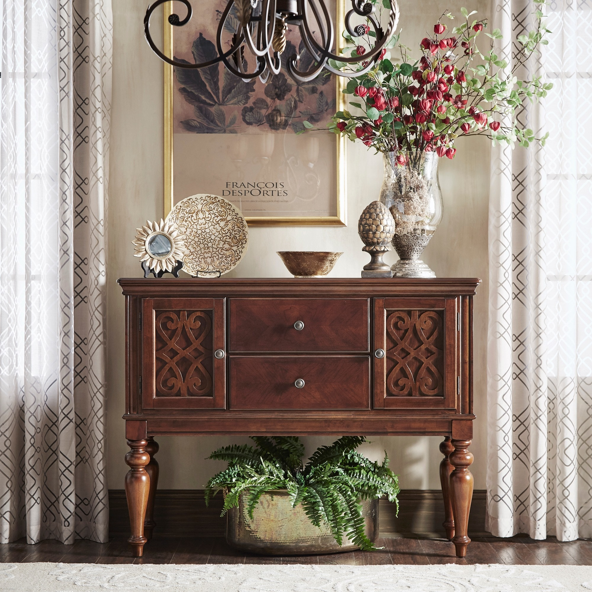 Emma Catherine Cherry 2 Drawer Cabinet Server By Inspire Q Clic