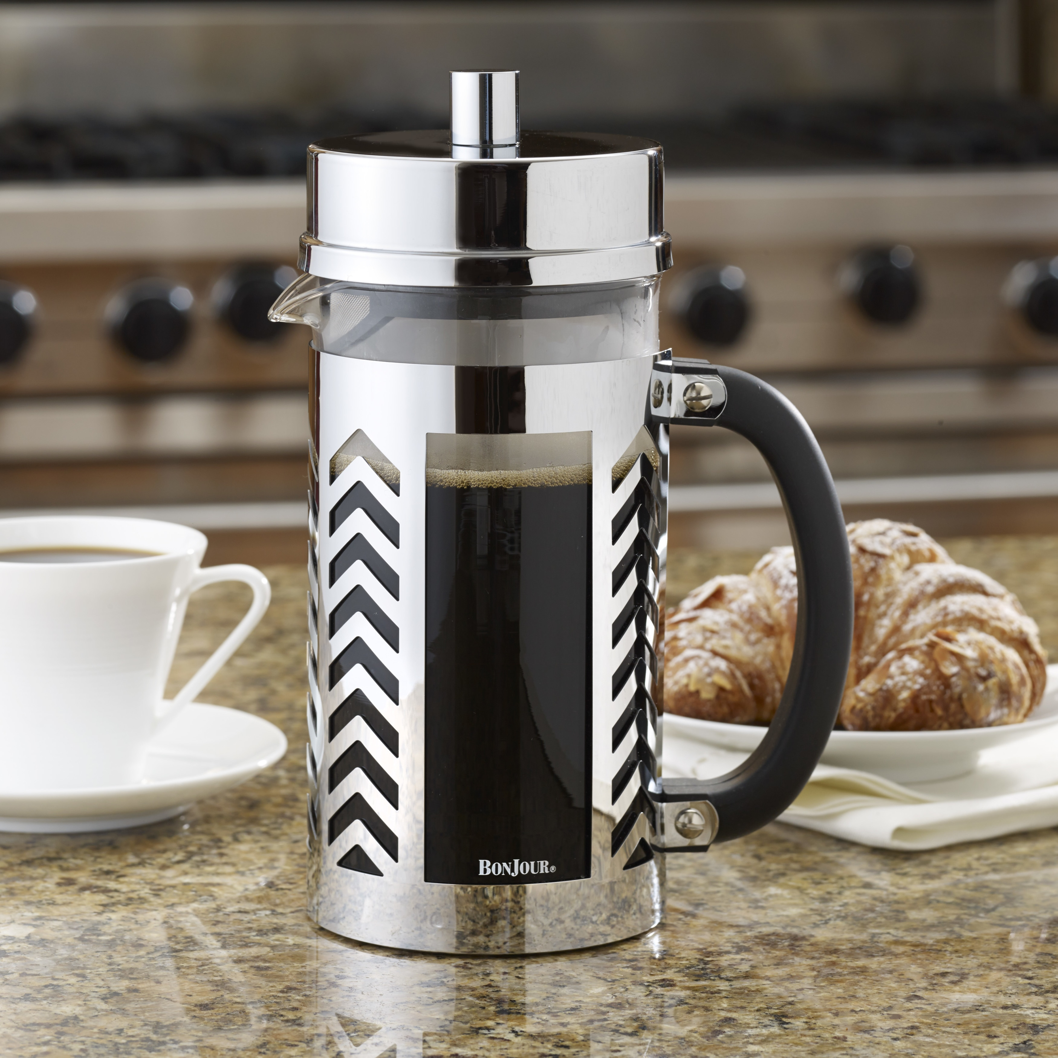 Bonjour Coffee 8 Cup Stainless Steel Chevron French Press Free Shipping Today 9919711