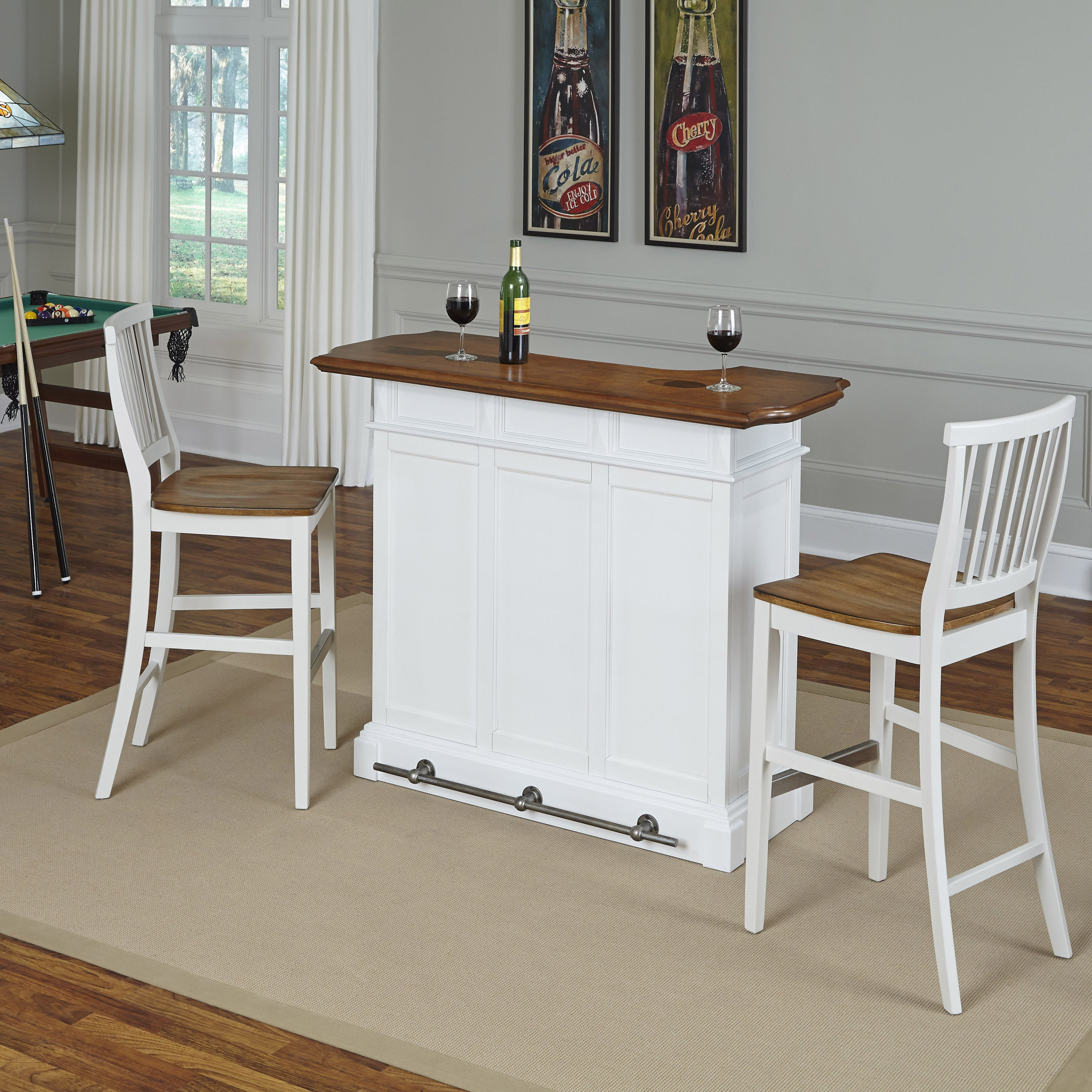 Americana Bar And Two Stools By Home Styles
