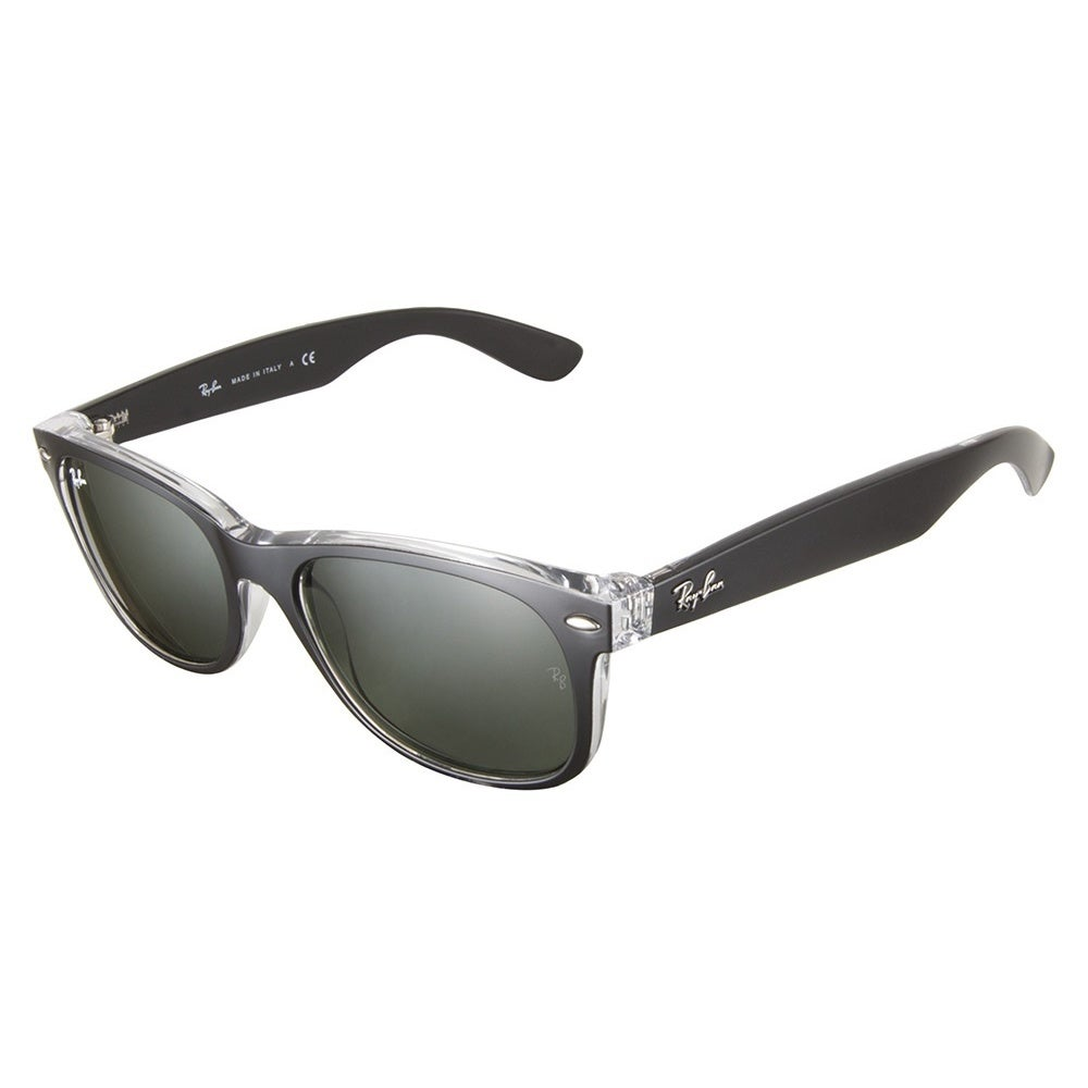 Shop Ray Ban Sunglasses New Wayfarer RB2132 (Black Transparent/Green ...
