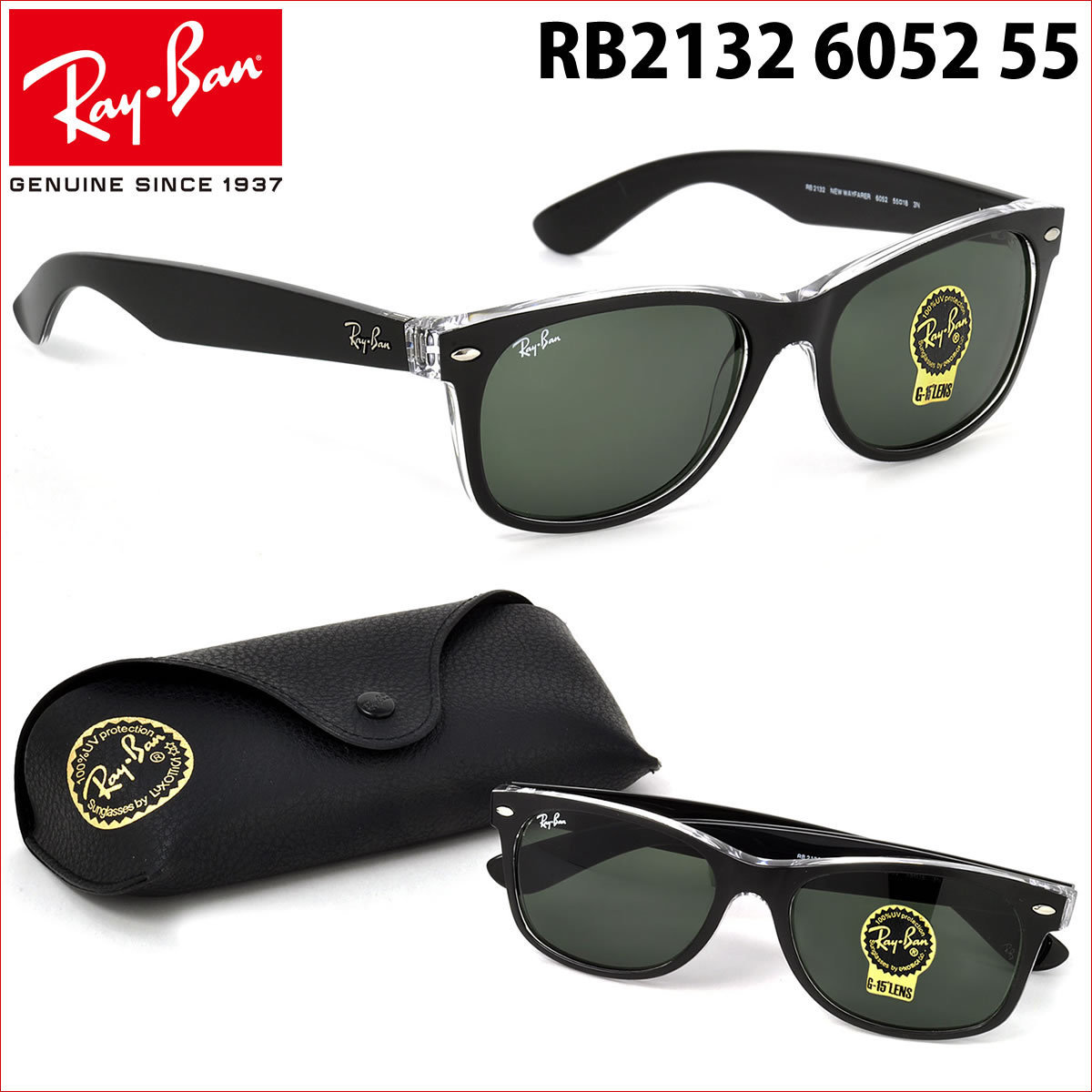 c4409fbb57 Shop Ray-Ban RB2132 New Wayfarer Color Mix Sunglasses Transparent Black   Green Classic 55mm - Black - Free Shipping Today - Overstock - 9922384