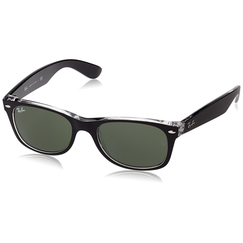 ed4b4ea1f26 Ray-Ban RB2132 New Wayfarer Color Mix Sunglasses Transparent Black  Green  Classic 55mm - Black