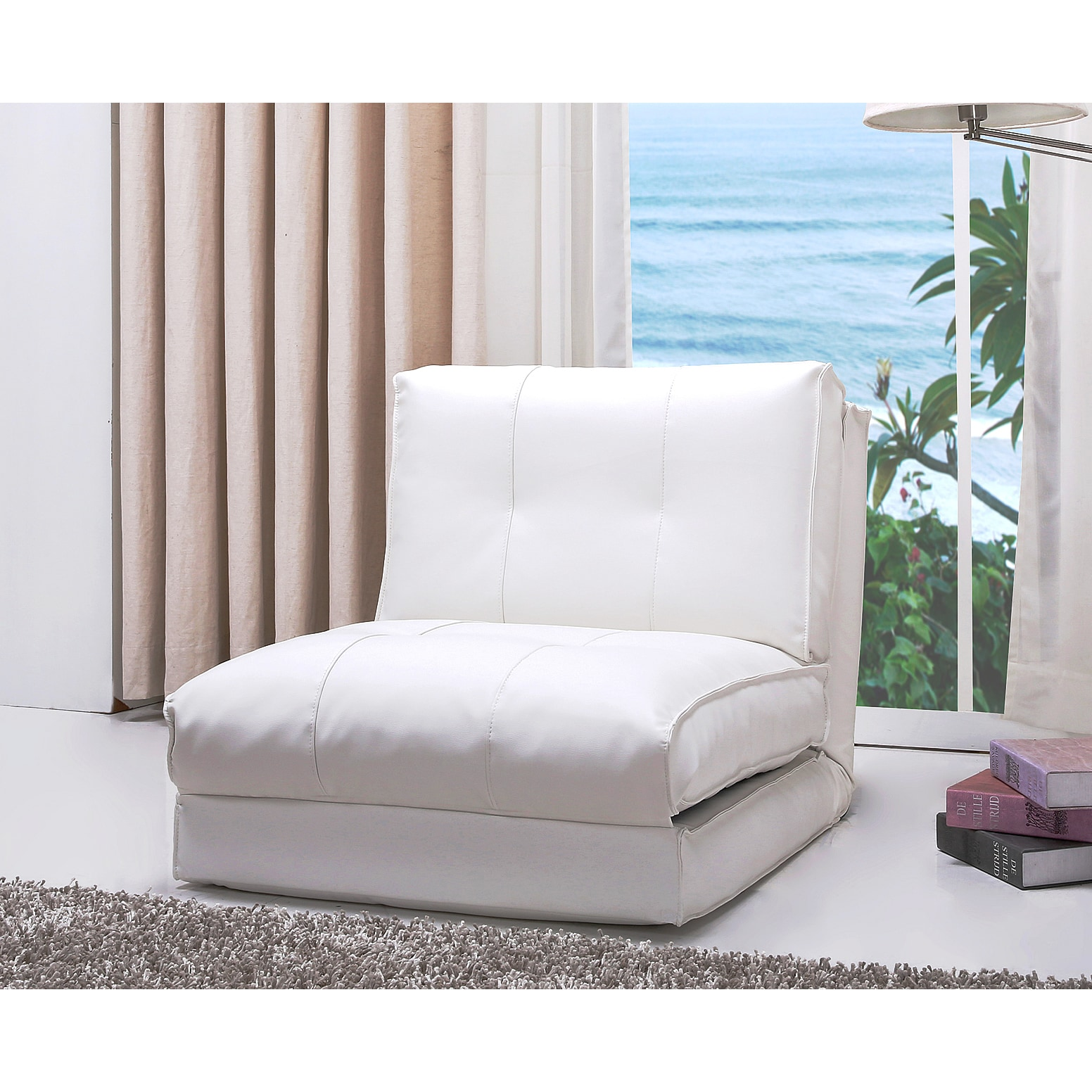 Shop Abbyson Jackson White Leather Single Sleeper Chair   Free Shipping  Today   Overstock.com   9922992