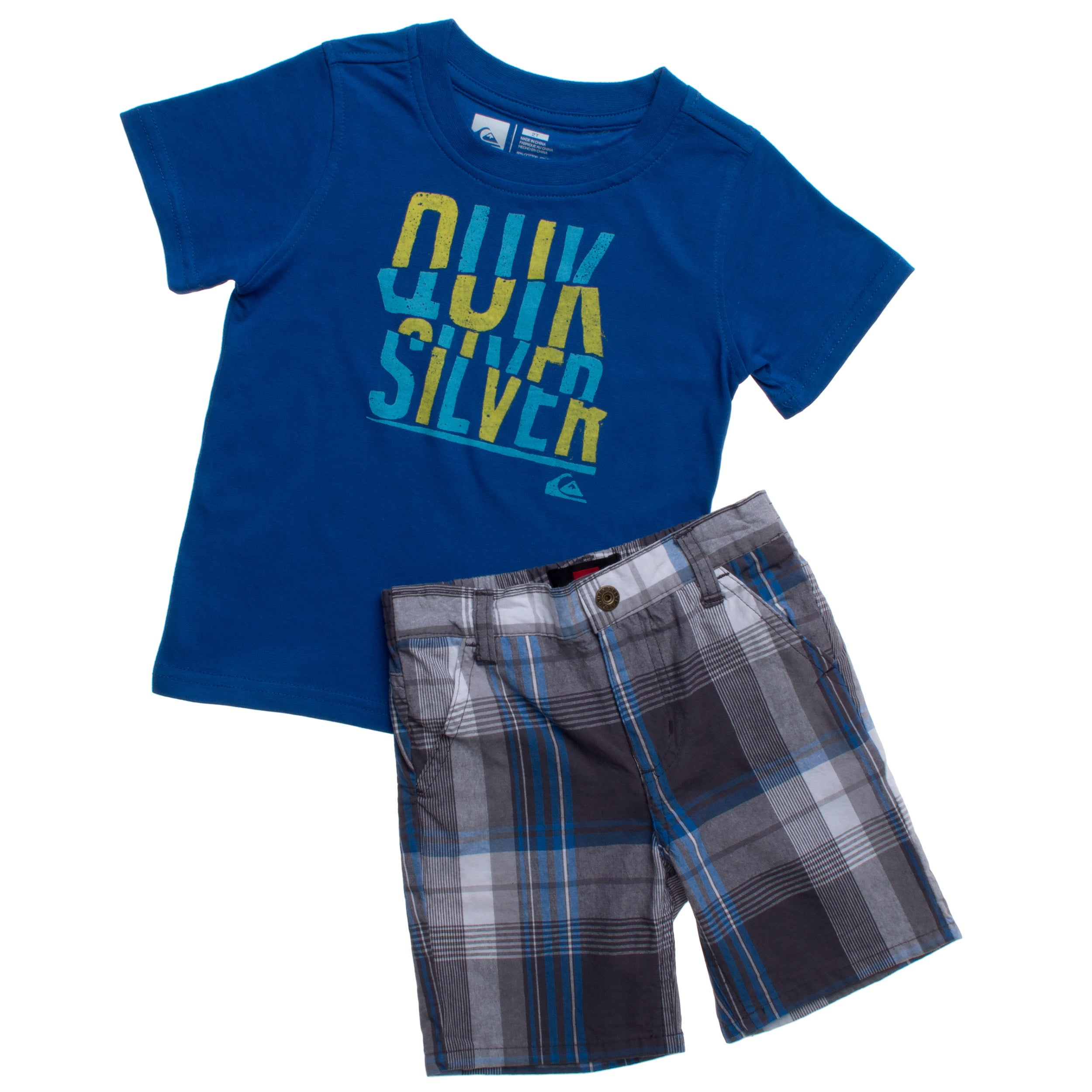 2a9e47867 Shop Quicksilver Toddler Boys Blue Plaid 2-piece Tee and Board Shorts Set -  Free Shipping On Orders Over $45 - Overstock.com - 9923061