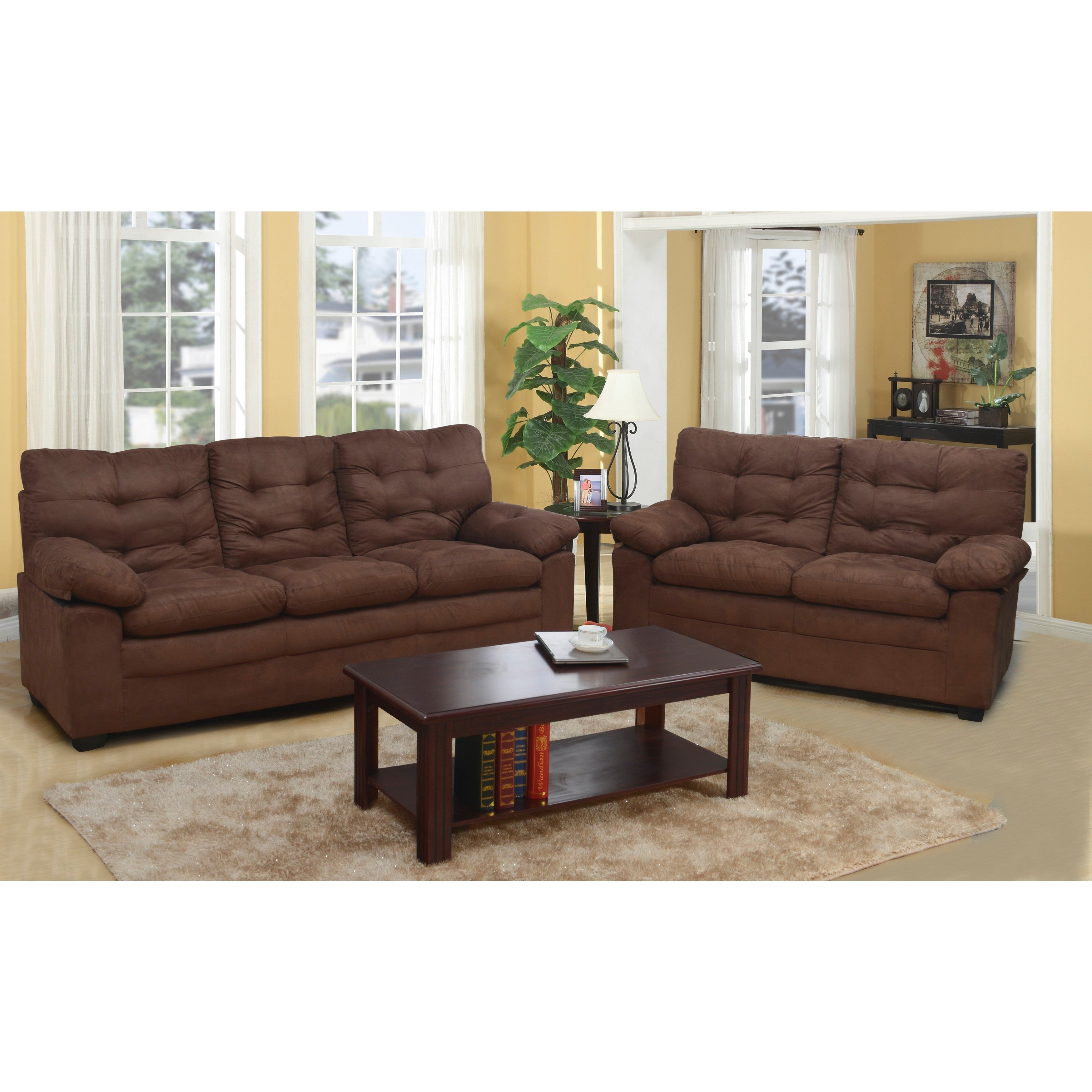 Chocolate Microfiber Tufted Sofa   Free Shipping Today   Overstock.com    17085988