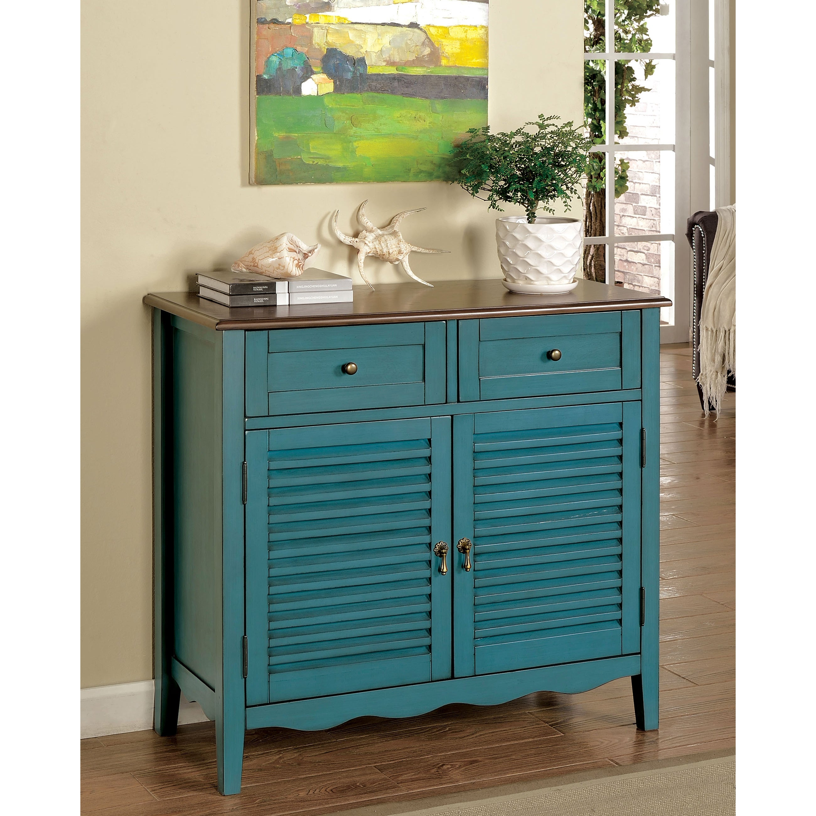 Shop Furniture of America Faite Country Style Hallway Chest - On ...