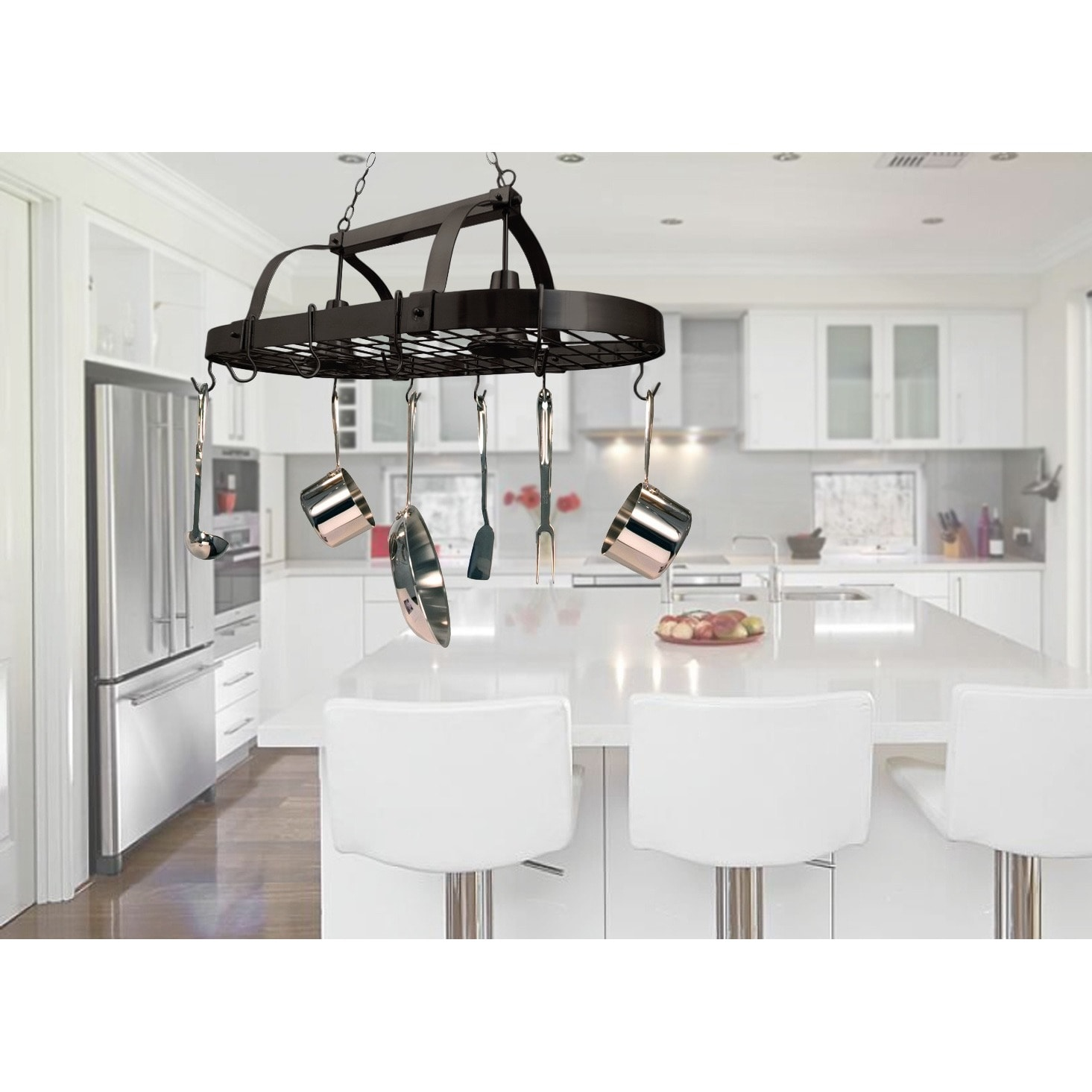 Shop elegant designs home collection 2 light kitchen pot rack free shipping today overstock com 9929978