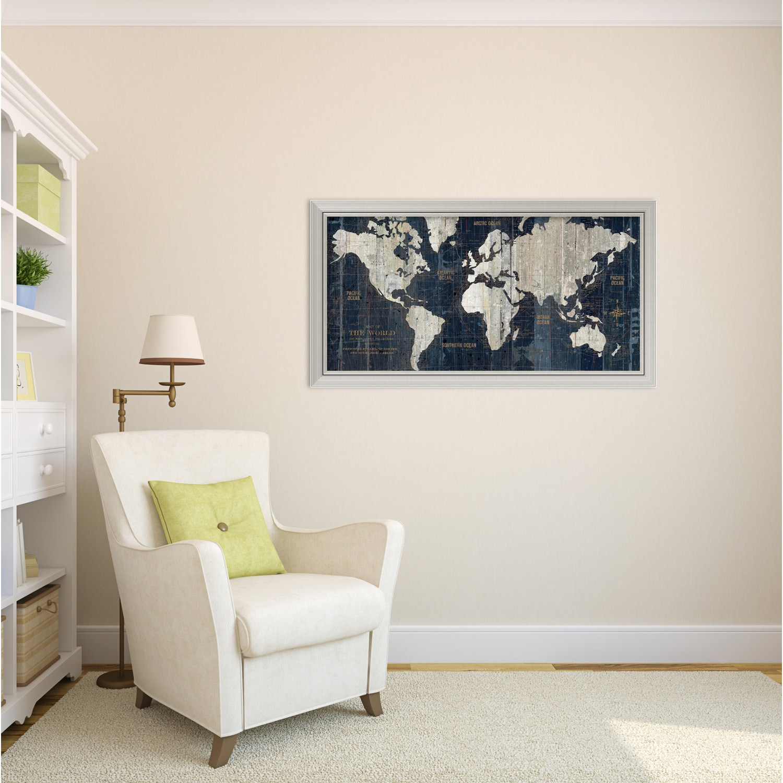 Framed Art Print Old World Map Blue by Wild Apple Portfolio 43 x