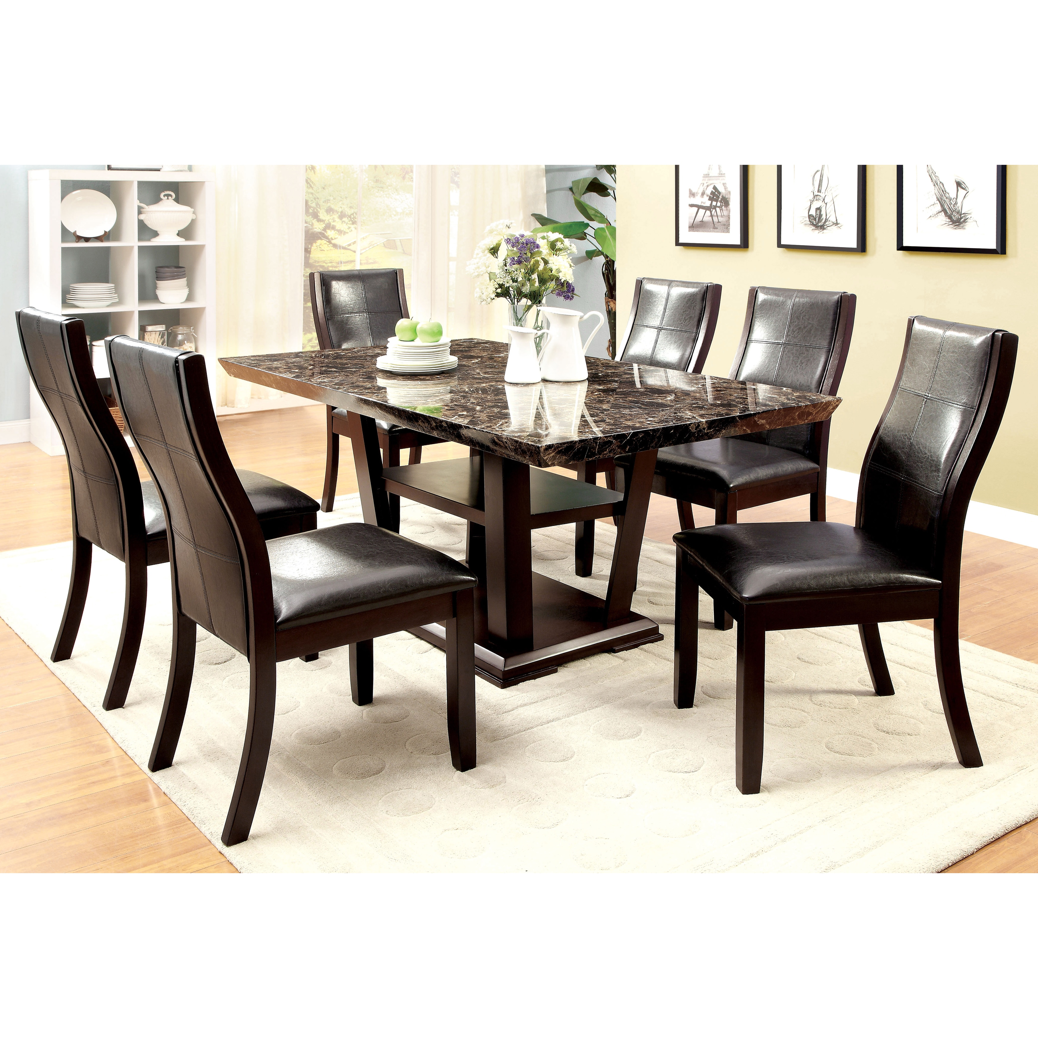 Shop furniture of america elivia modern faux marble dining table cherry free shipping today overstock com 9932209