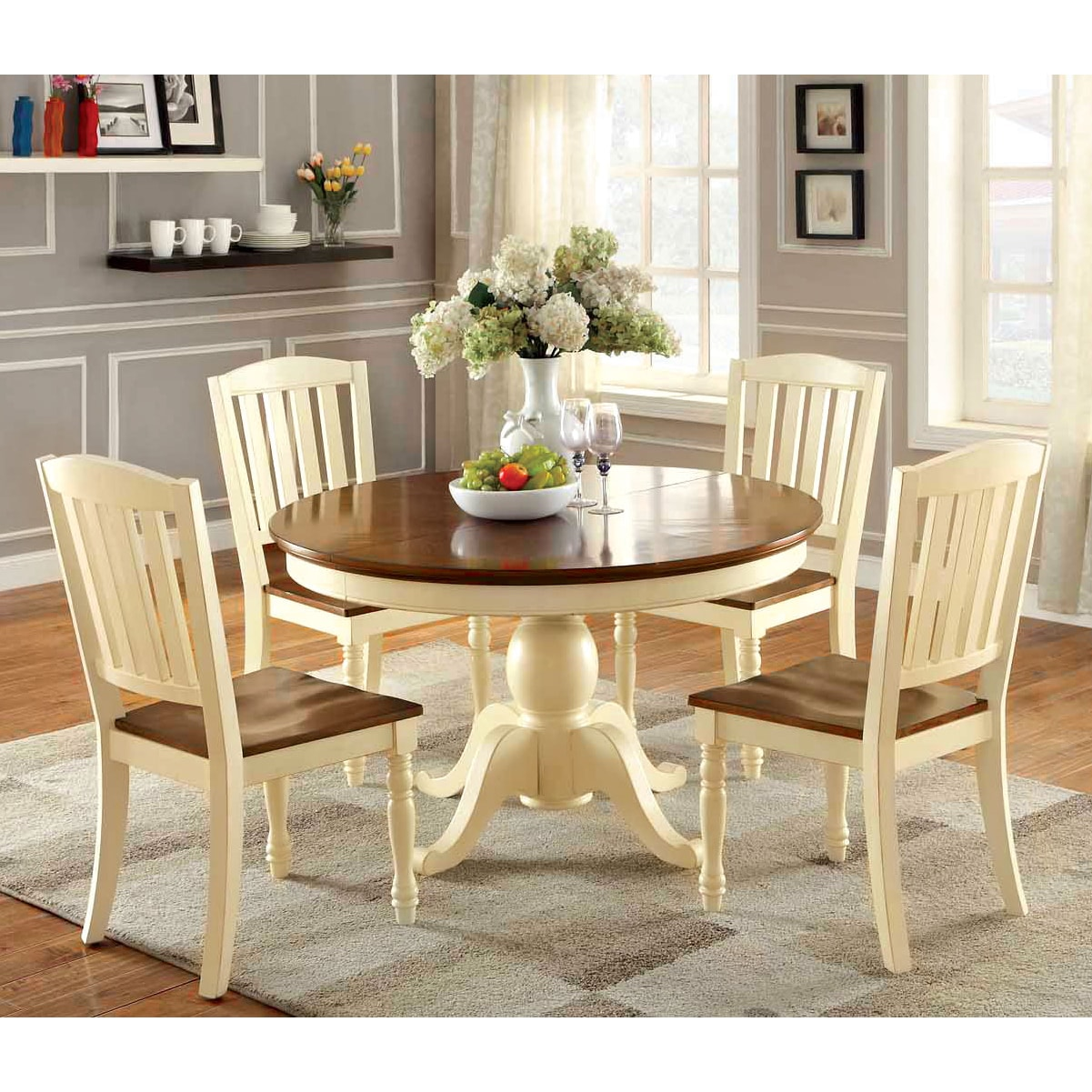 Shop Furniture of America Bethannie 5-Piece Cottage Style Oval Dining Set -  Free Shipping Today - Overstock.com - 9932230 - Shop Furniture Of America Bethannie 5-Piece Cottage Style Oval