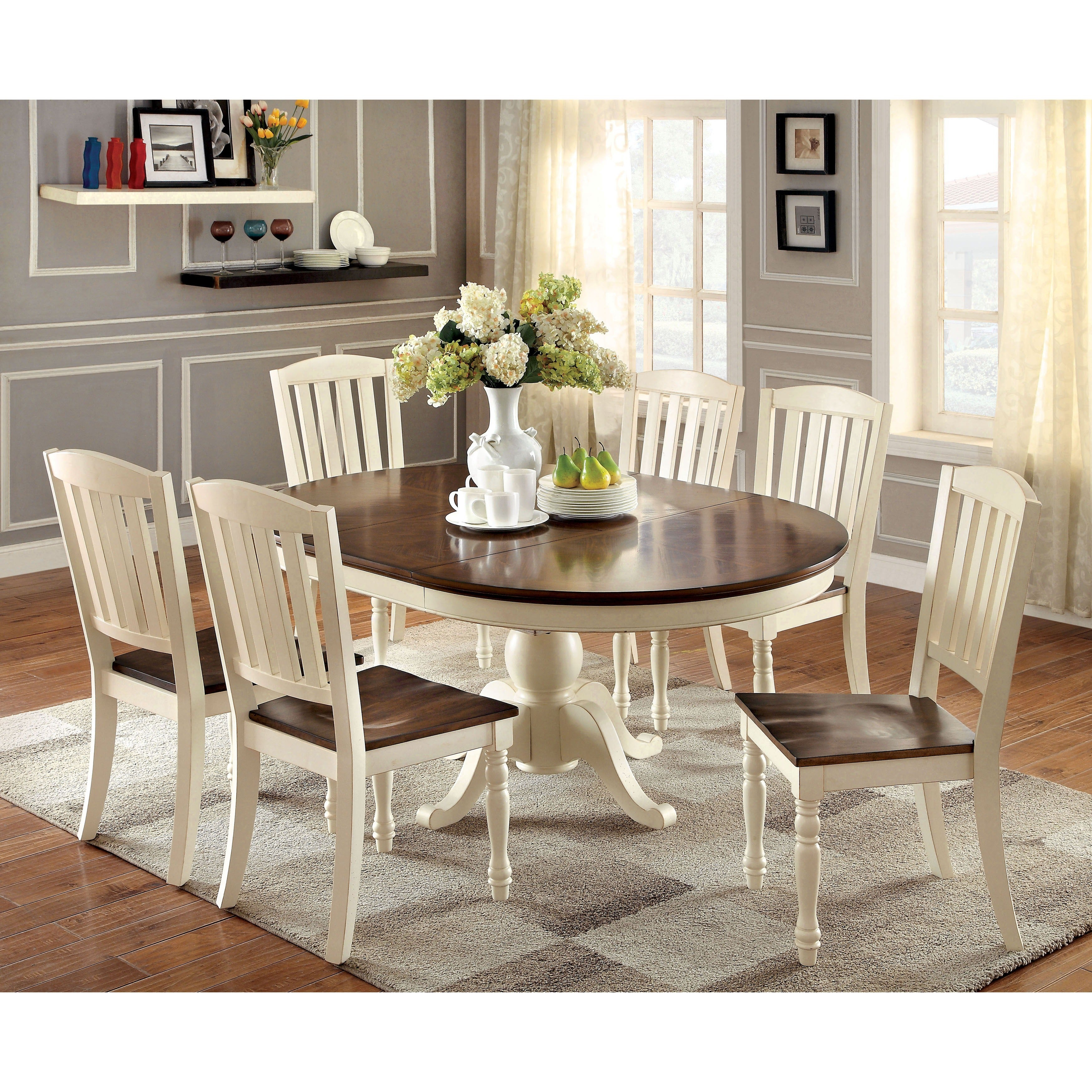 Furniture of America Bethannie Cottage Style 2 Tone Oval Dining