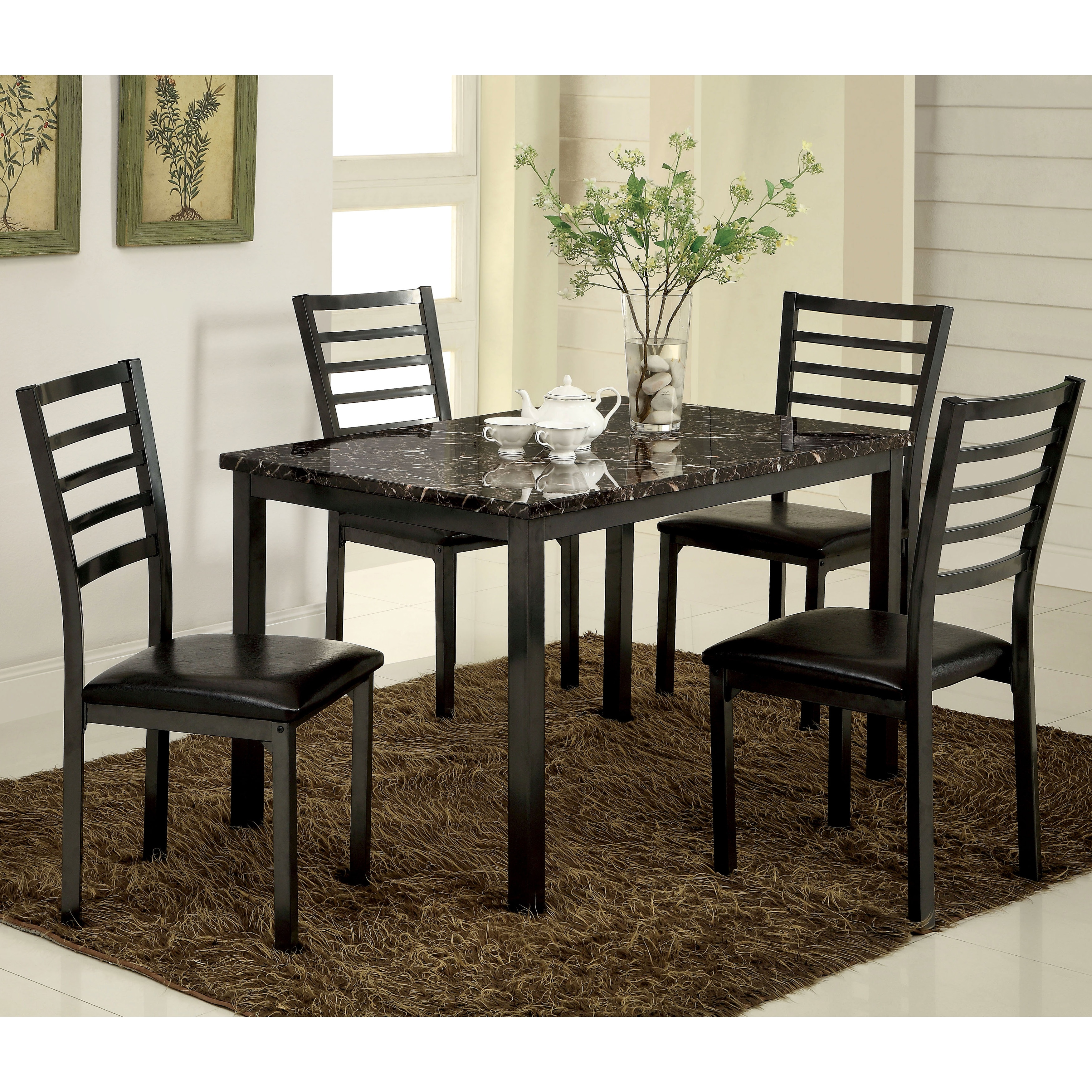 Shop Furniture Of America Hartley 5 Piece Black Dining Set   On Sale   Free  Shipping Today   Overstock.com   9936002