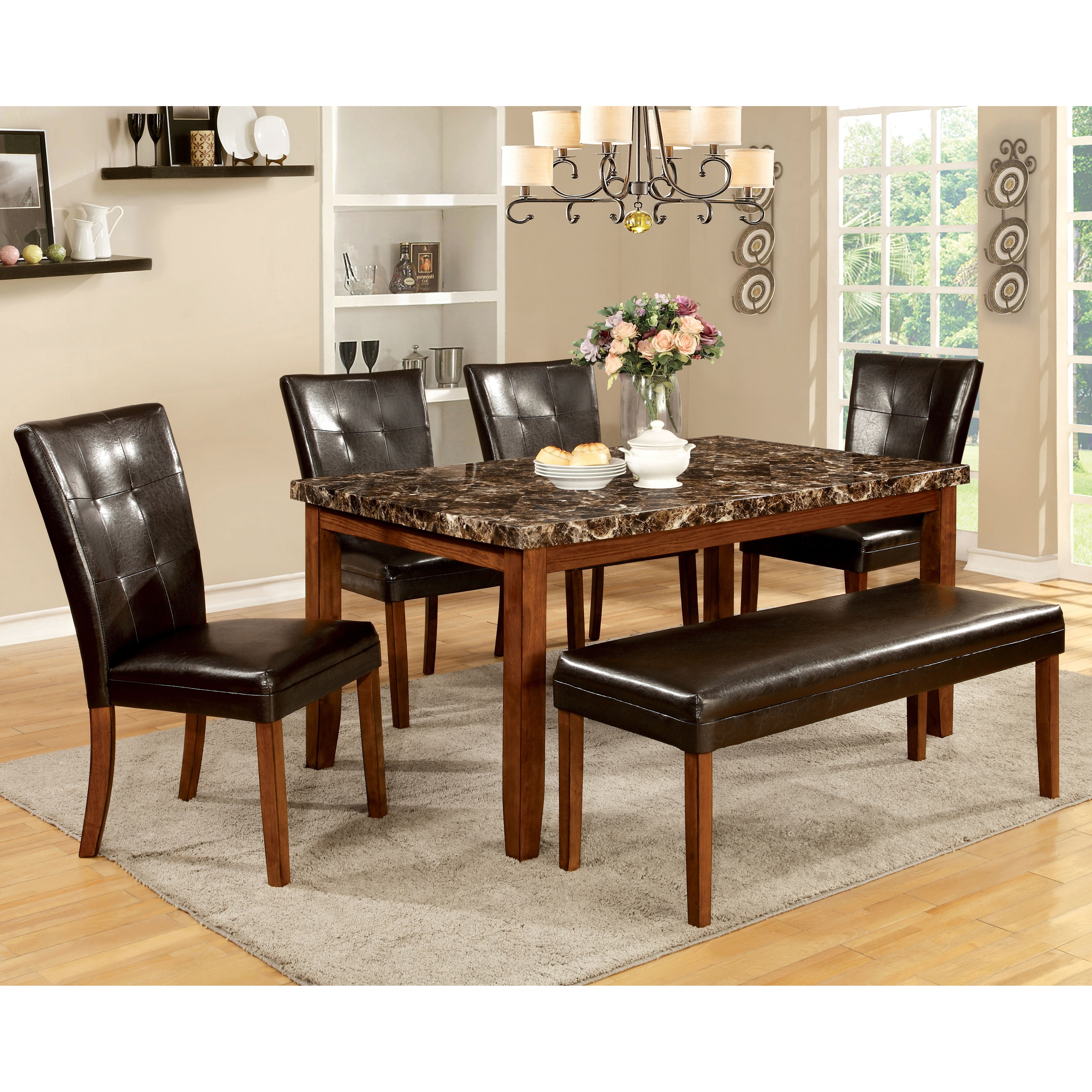 Shop furniture of america hughfort antique oak faux marble dining table free shipping today overstock com 9937262