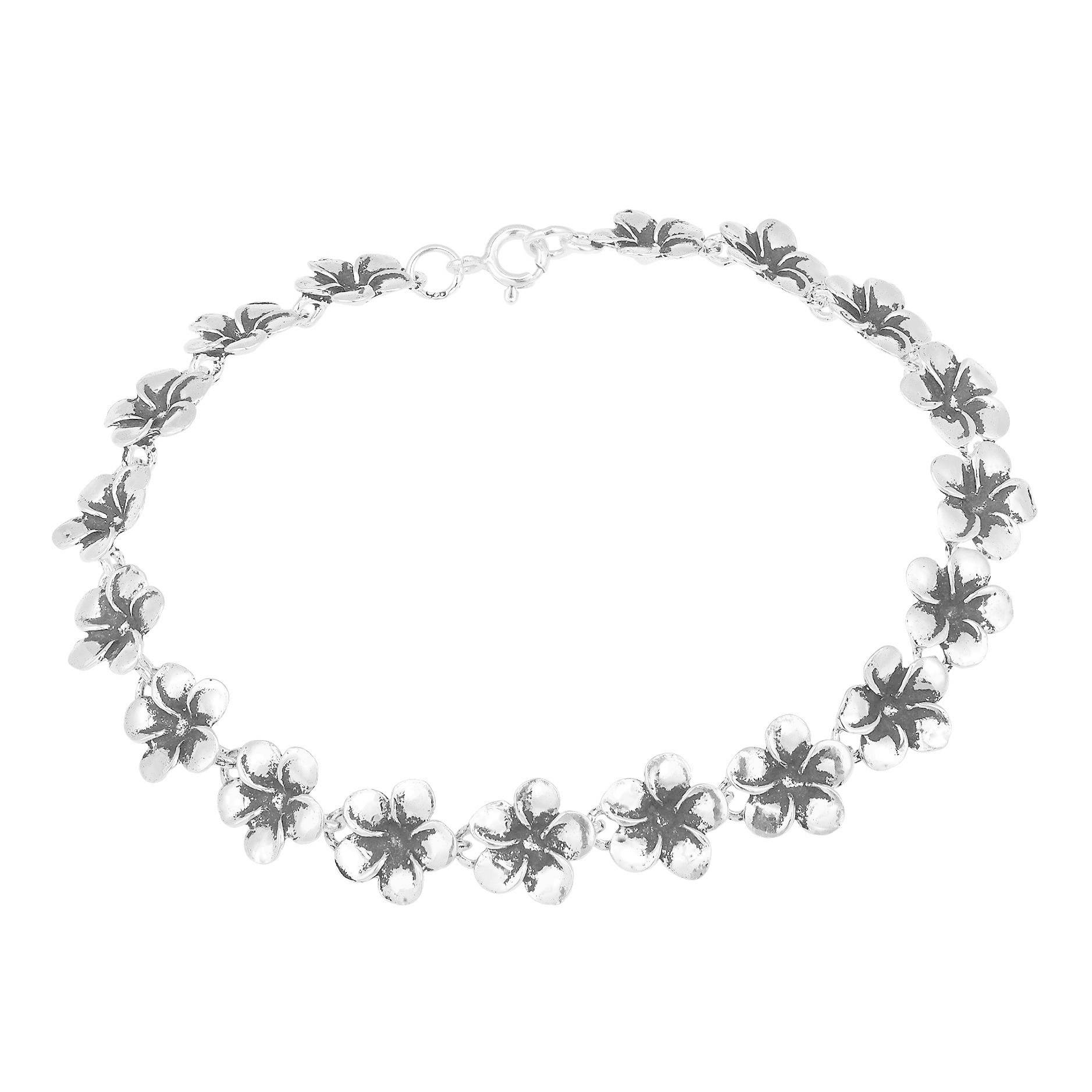 p plumeria anklet s price brand hawaii lowest sterling foot ygp flower silver anklets chain cz new