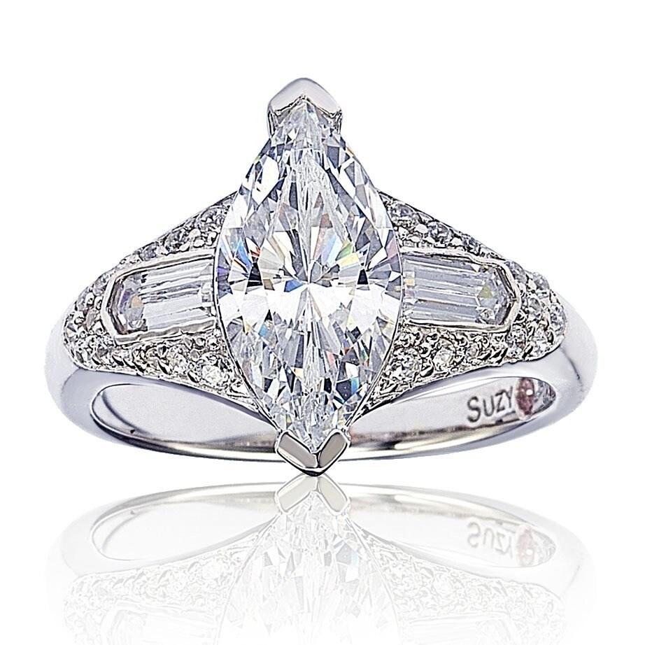 97c61e949 Shop Suzy Levian Sterling Silver Marquise Cubic Zirconia Engagement ...