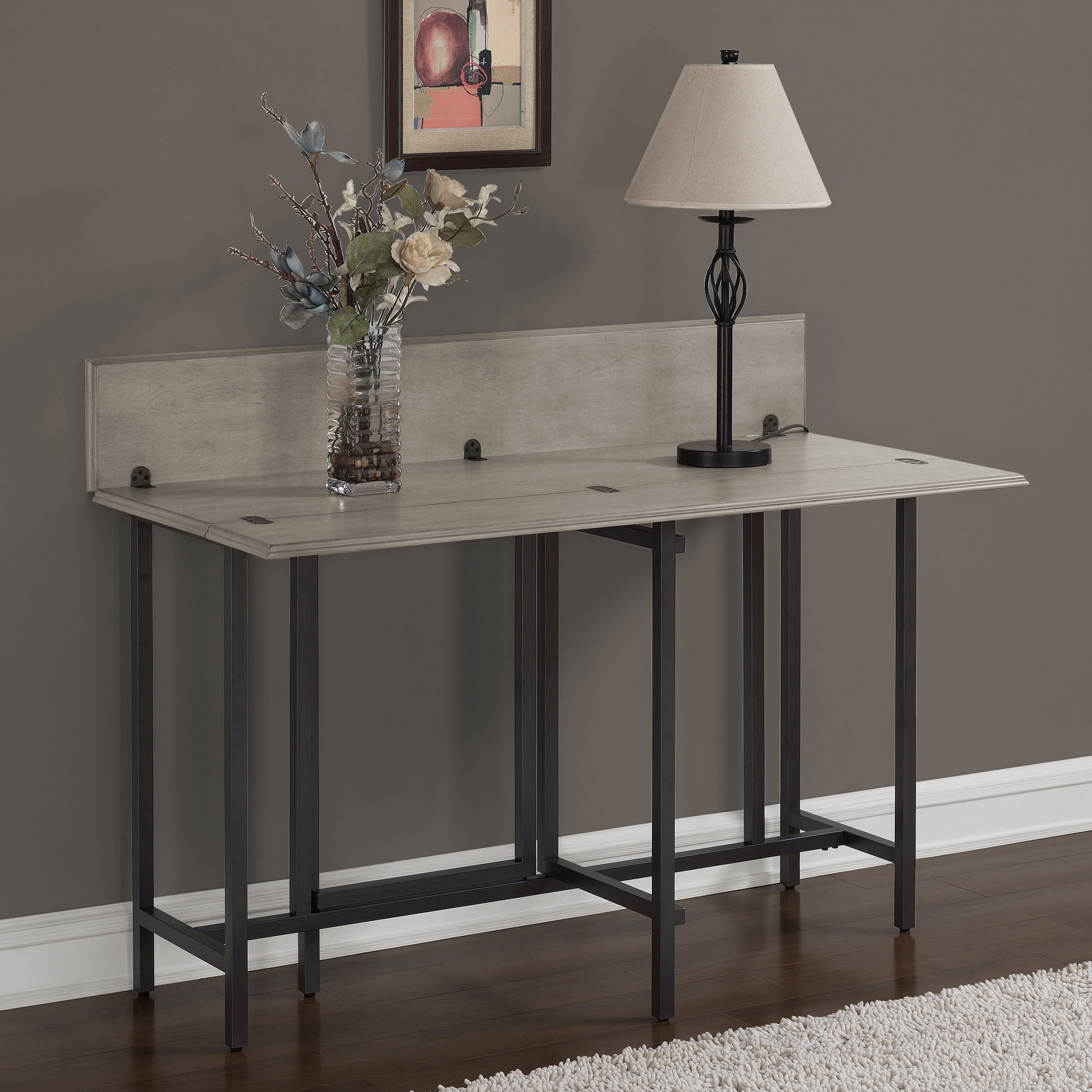 Carbon Loft Convertible Wood Dining Table Grey   Free Shipping Today    Overstock.com   17095937