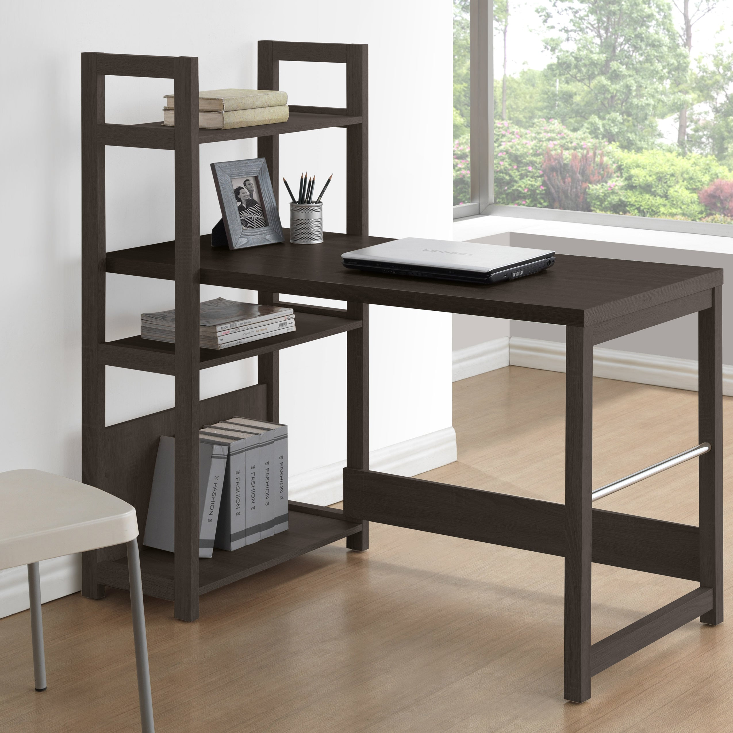Shop CorLiving Folio Black Espresso Bookshelf Styled Desk
