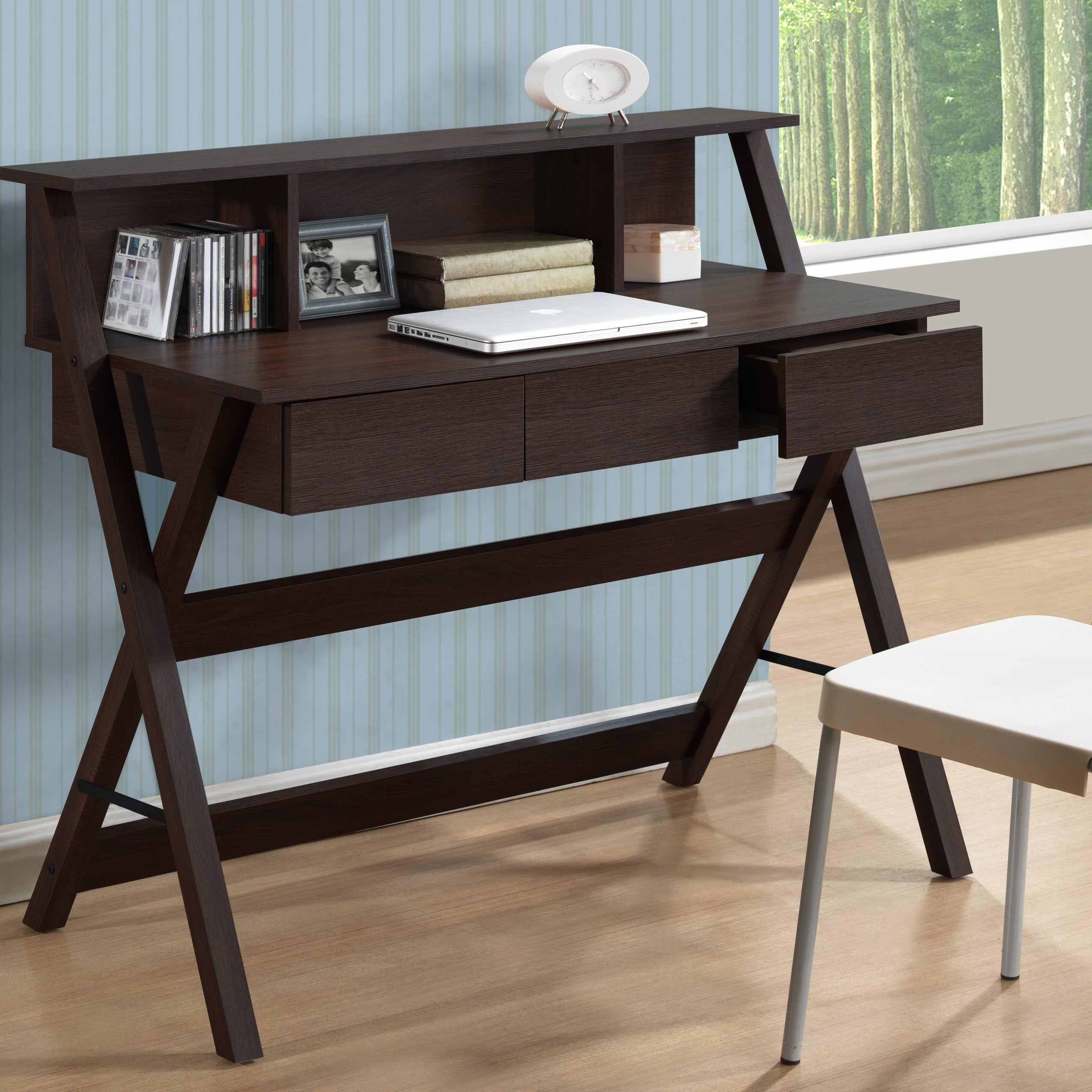 Shop CorLiving Folio Three-drawer Desk with Low Profile Hutch - Free ...